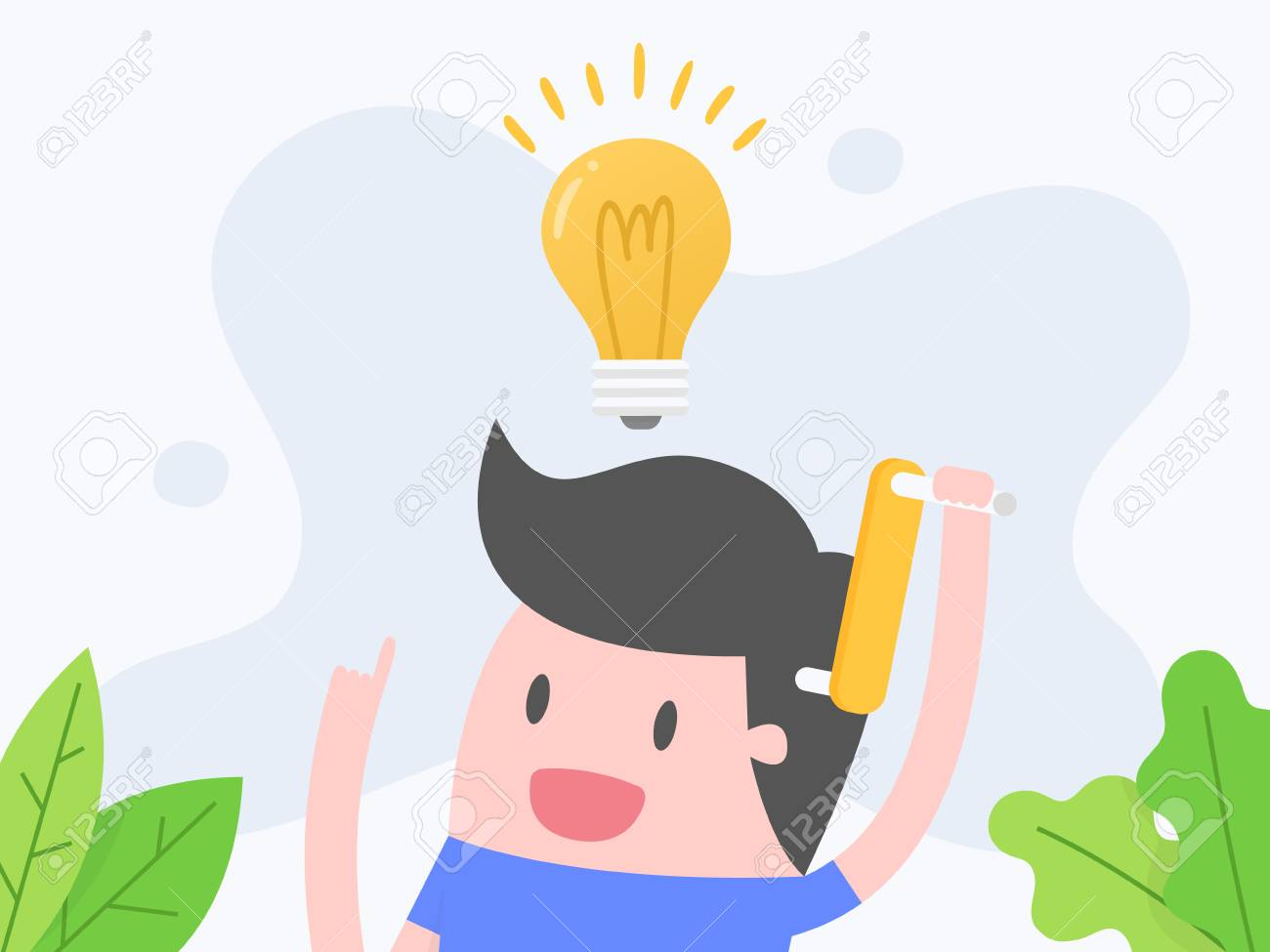 Vector illustration concept of thinking. businessman thinking with light bulb. - 121435273
