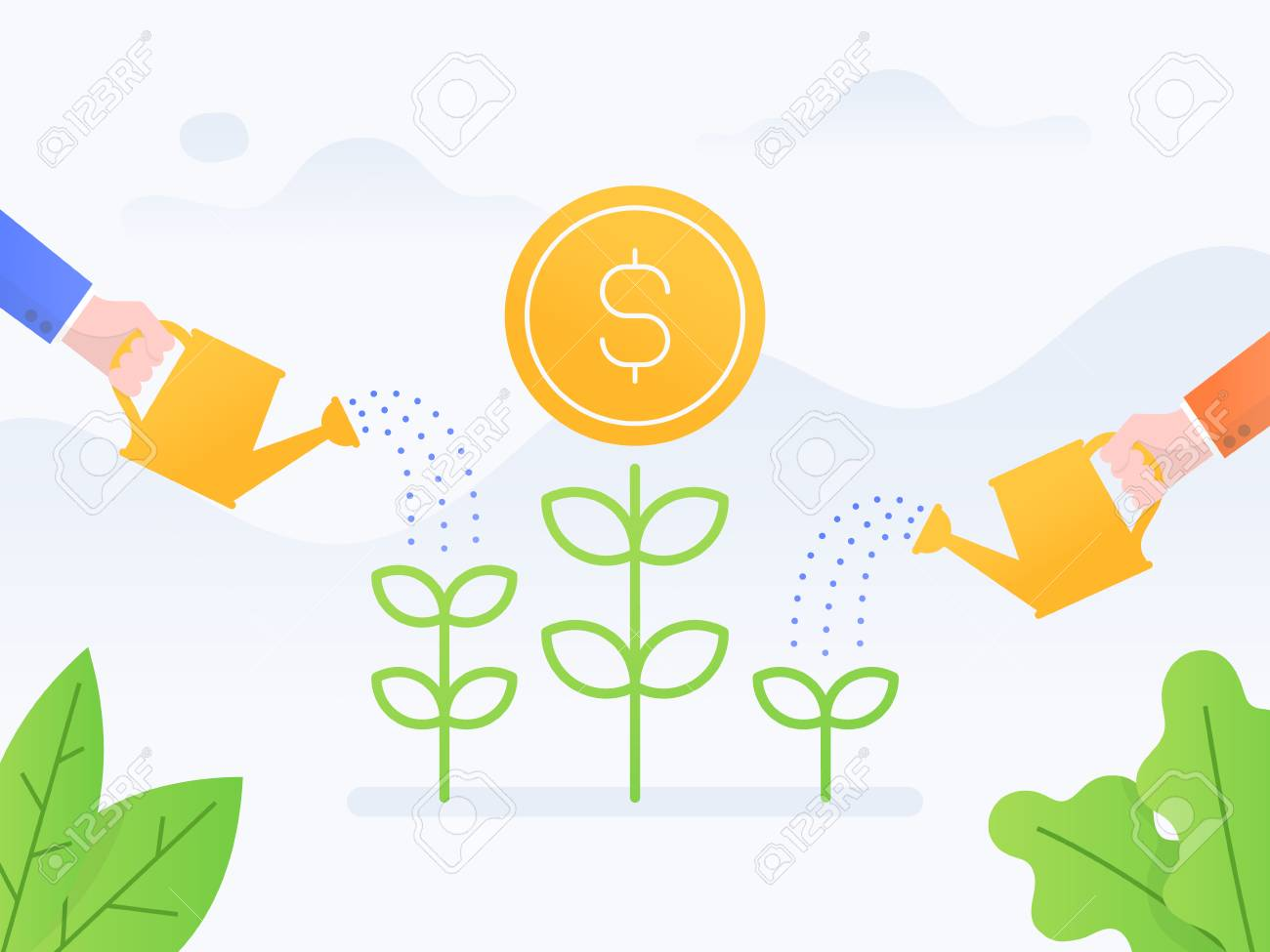 Vector illustration concept of investment. businessmen watering money plant. - 121435274