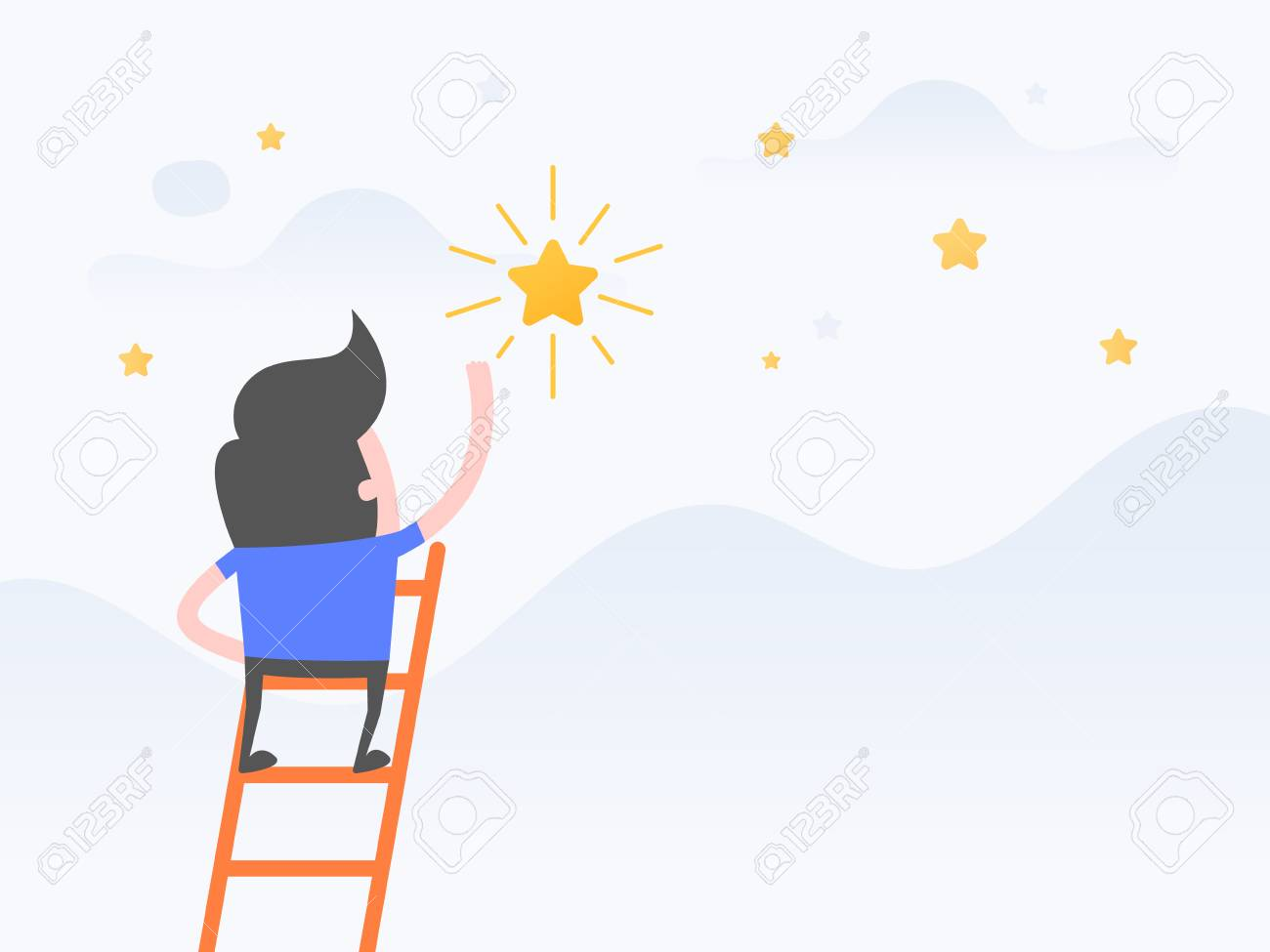 Vector illustration concept of dreams, Goals, Businessman steps onto ladder reaching to the star. - 121422274