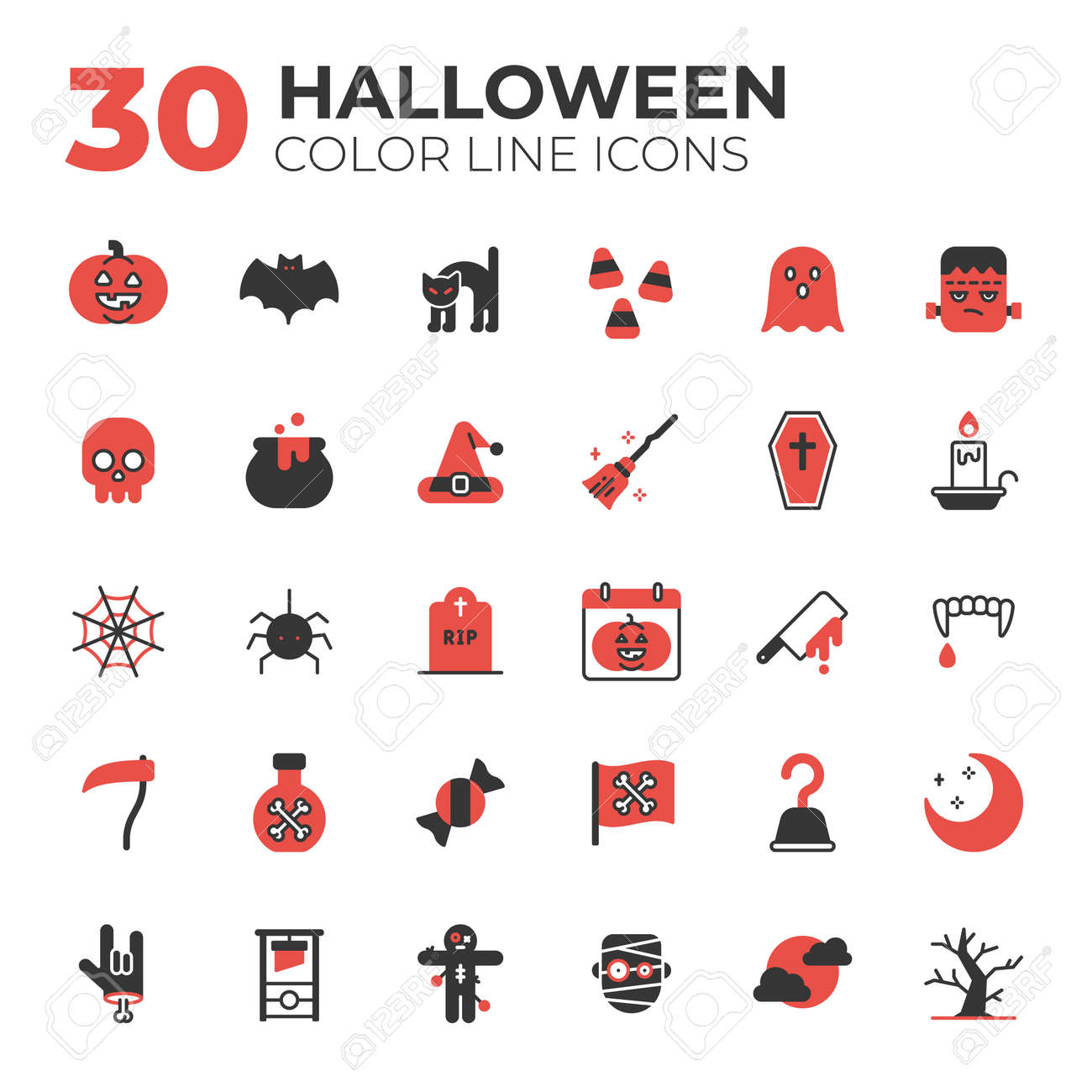 outline style halloween icons - 153888986