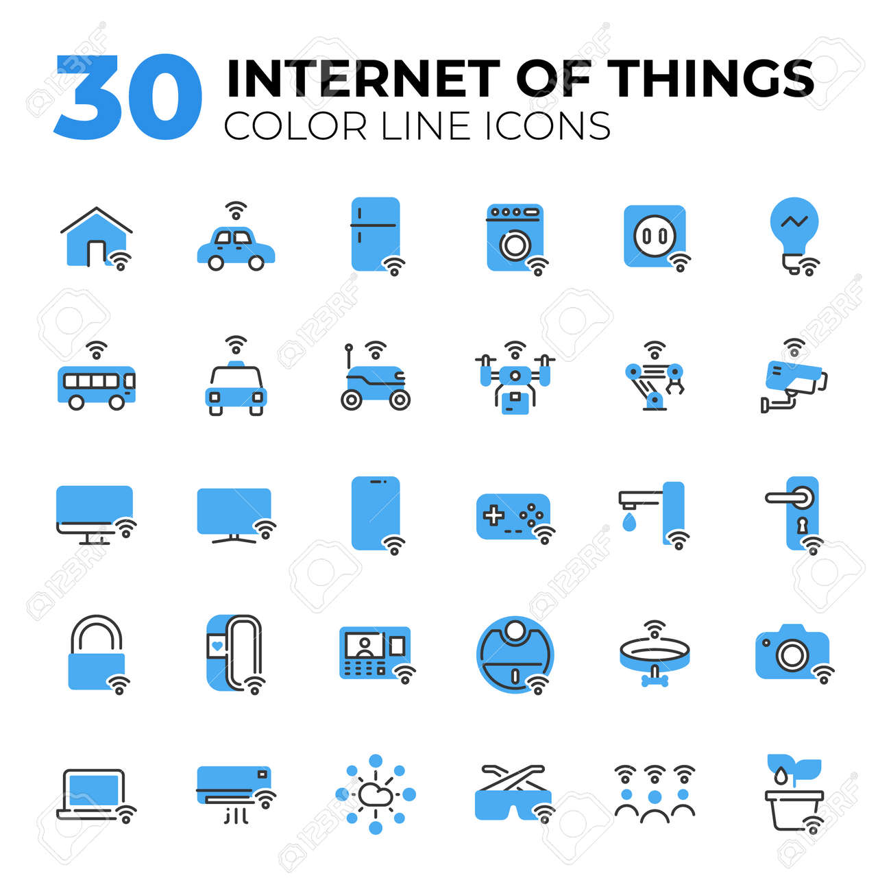 Internet of Things color line icons. - 155061256