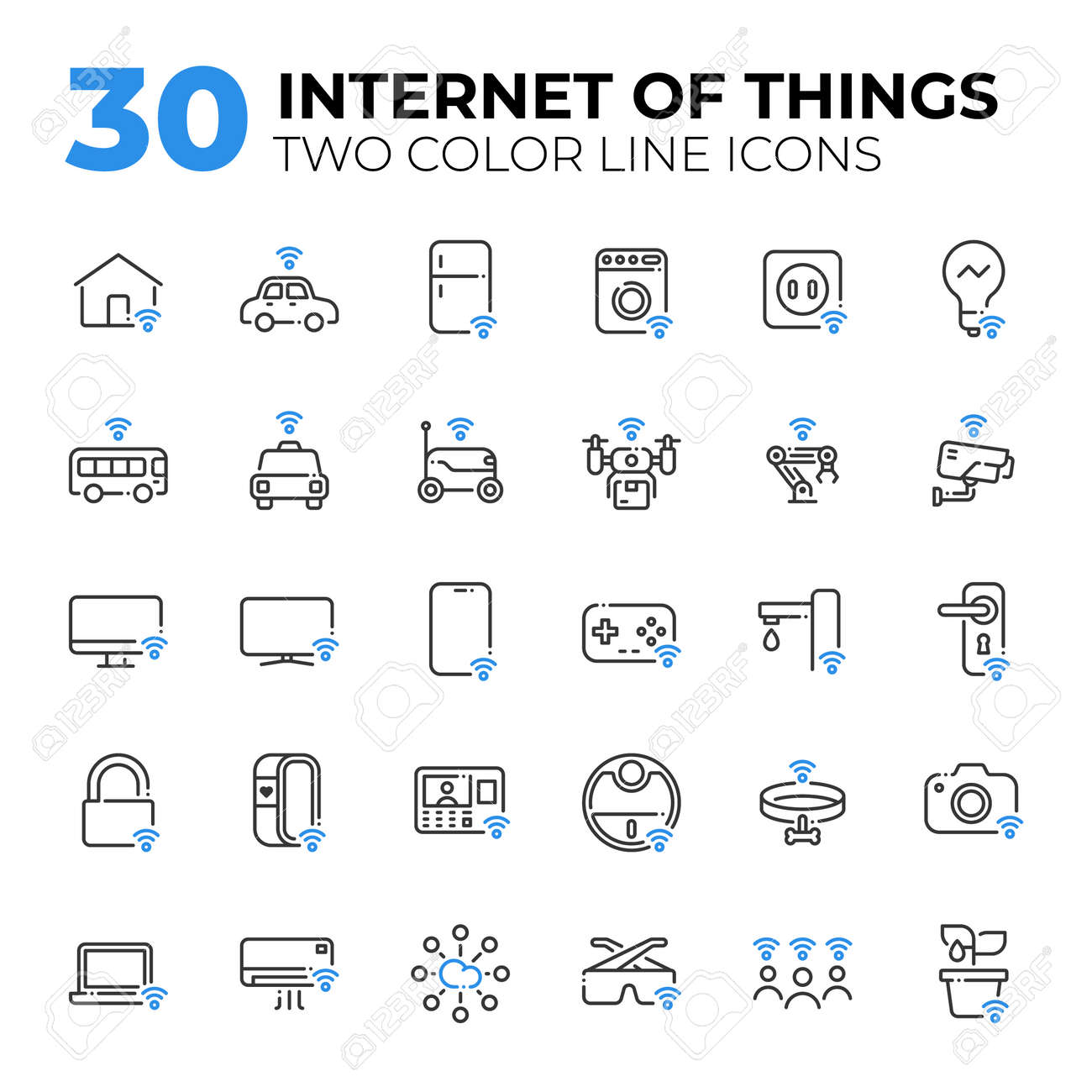 Internet of Things two color line icons. - 155061258