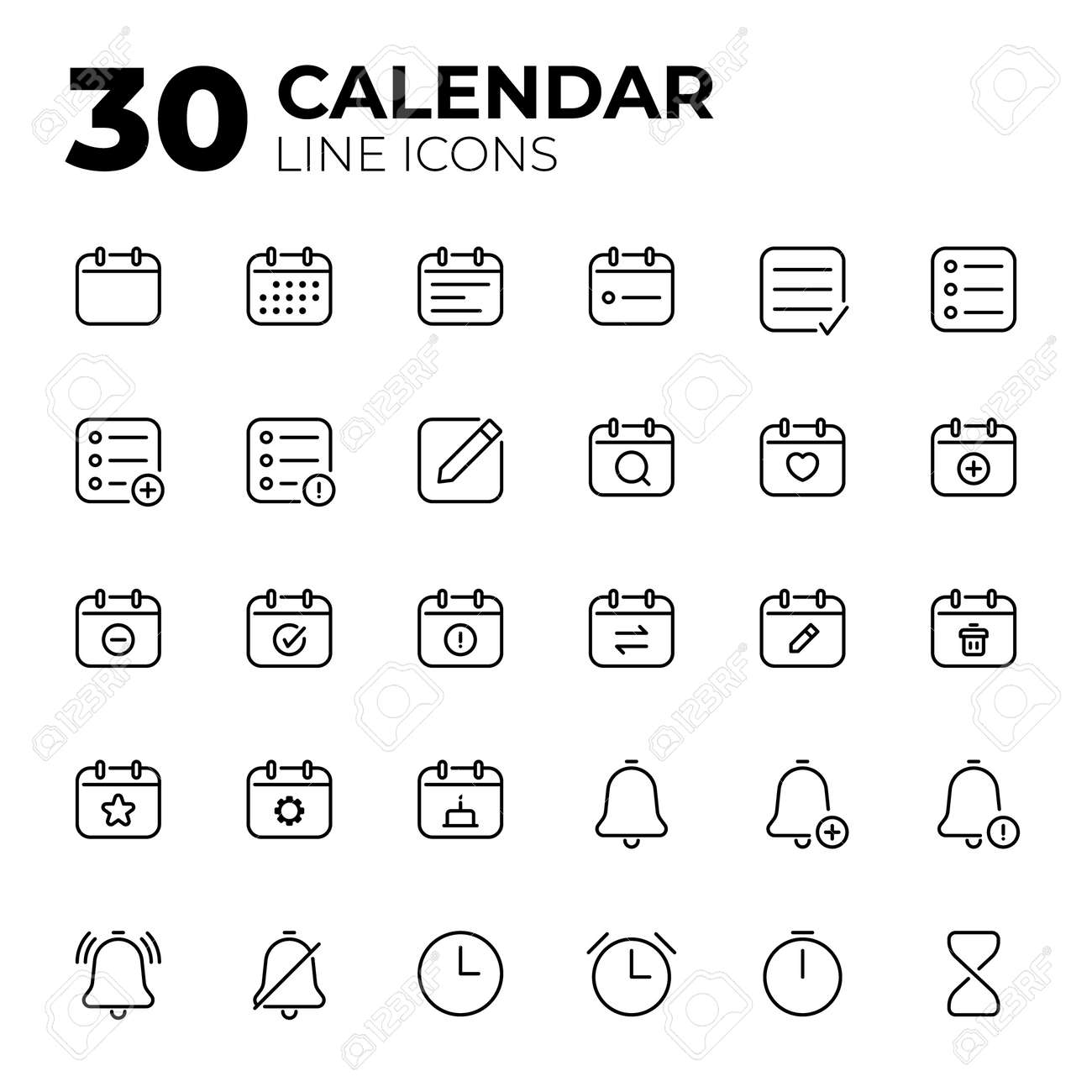 Calendar Date and Time line icons. - 155061260
