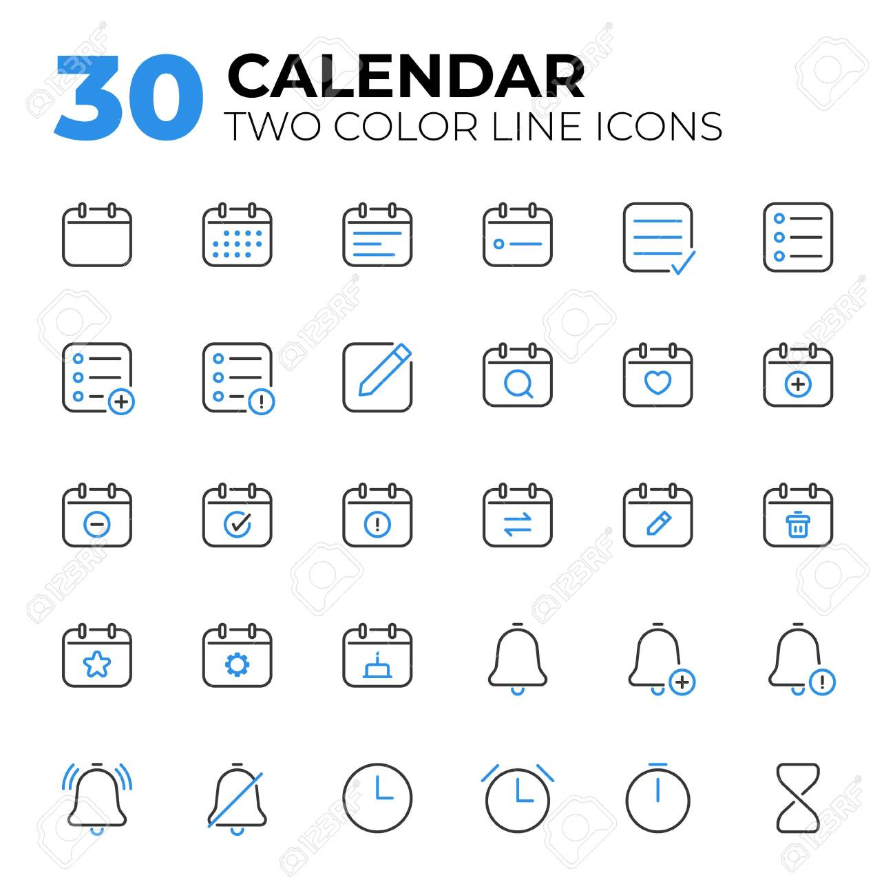 Calendar Date and Time two color line icons. - 155061263