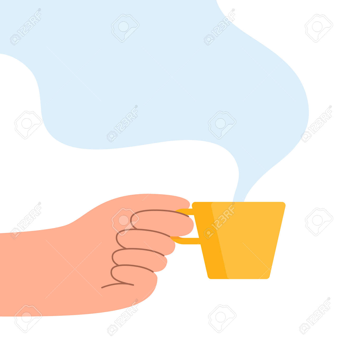 Hand with coffee cup vector illustration. - 156321424