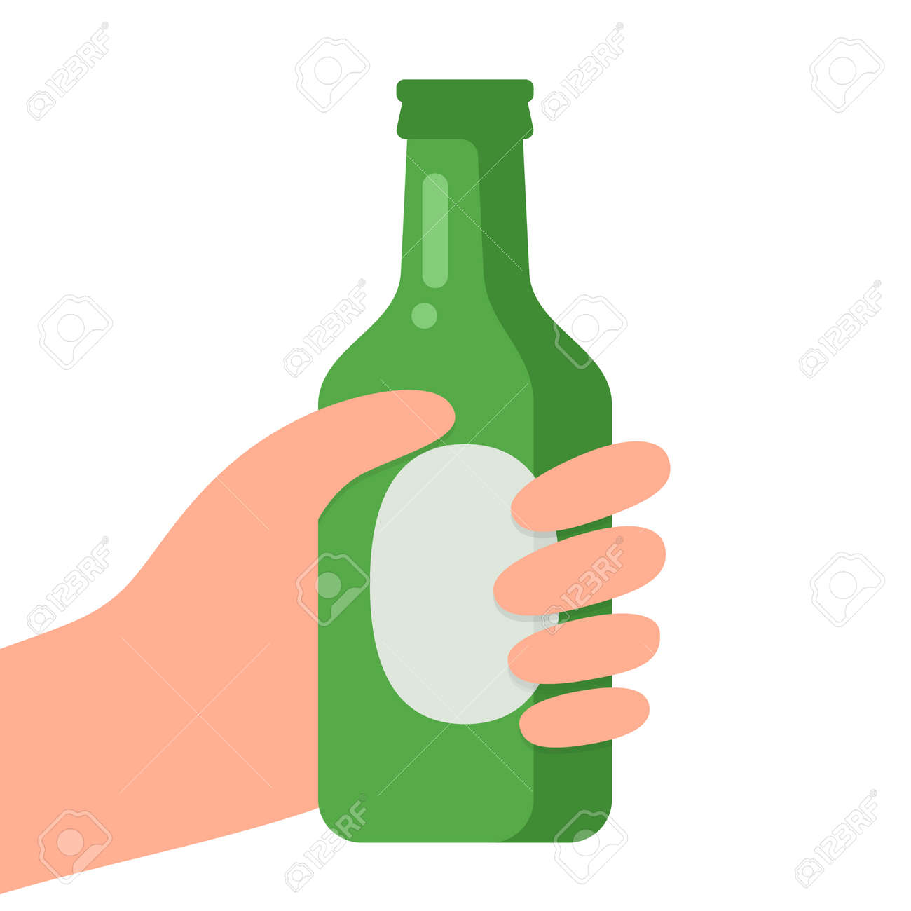 Hands with bottle of beer vector illustration. - 156309871