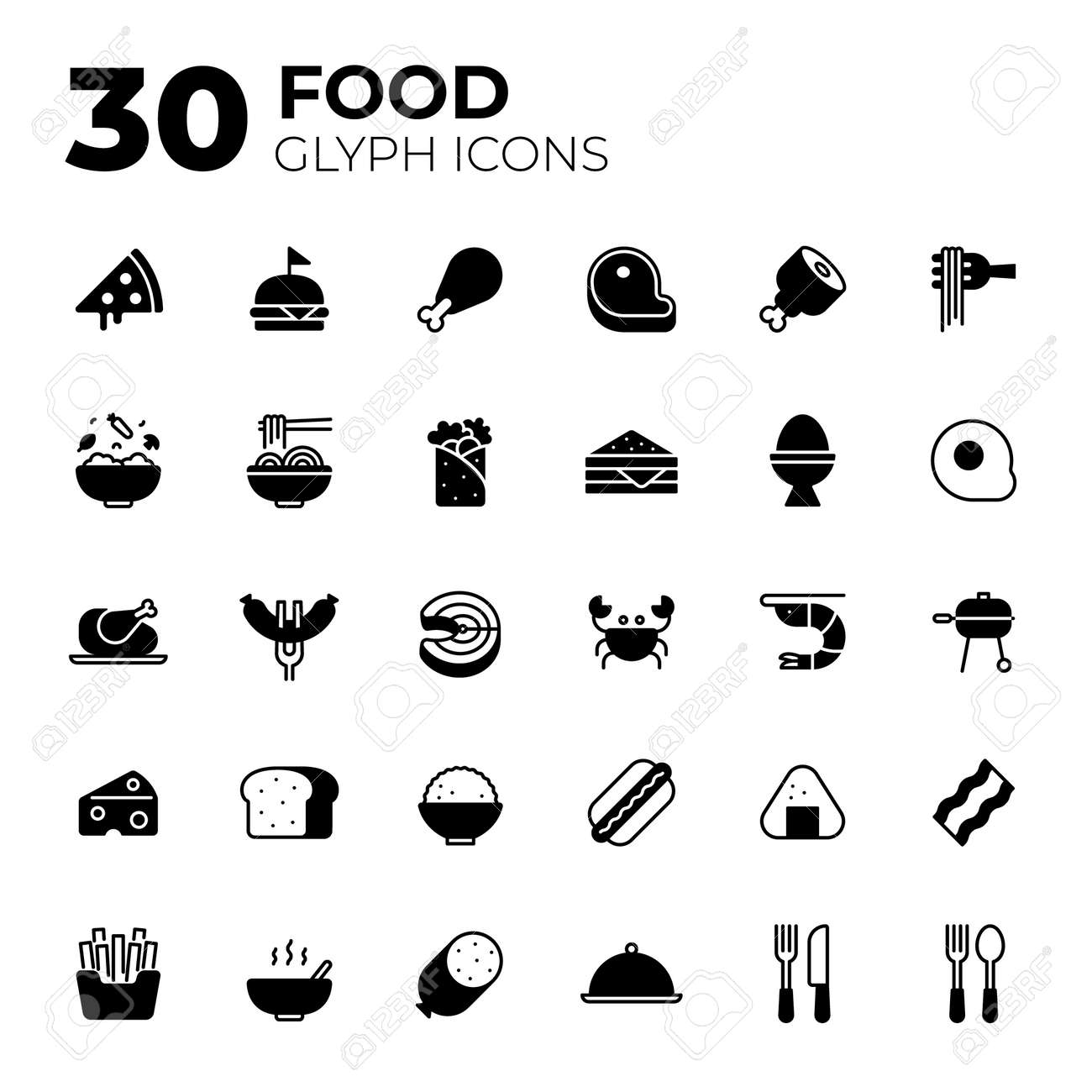 Glyph style Food icons. - 156309998