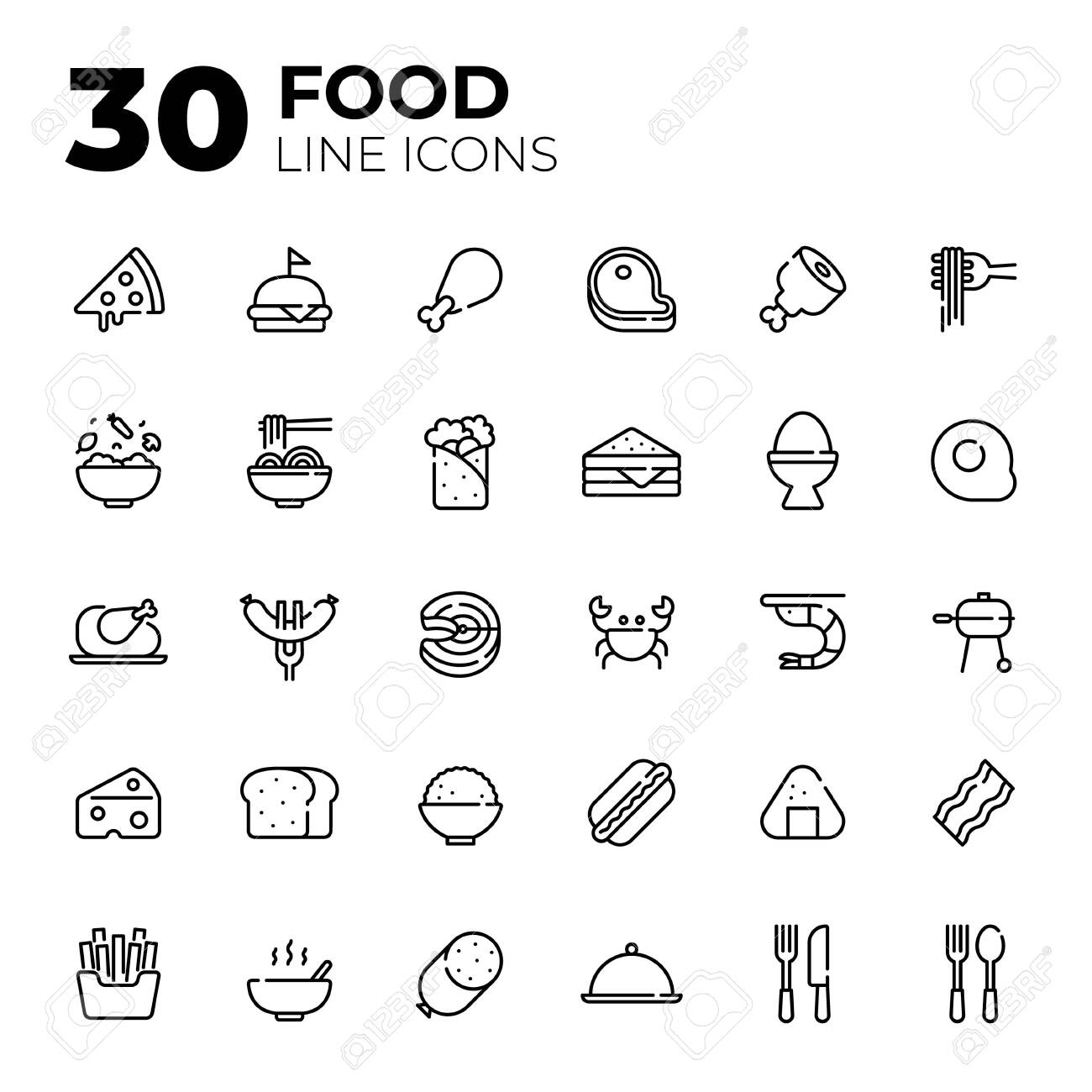 Outline style Food icons. - 156309911
