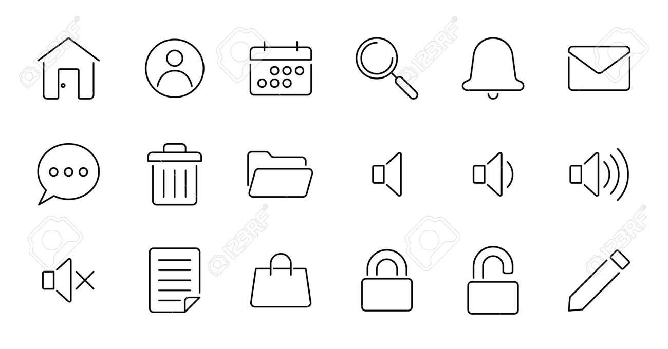 set of simple icons contains such Icons as export, security, bookmark, upload, and more - 162698154