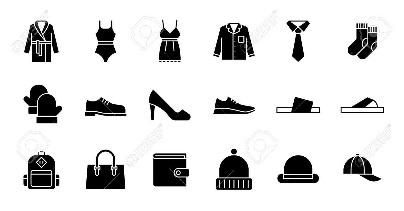 Simple icon set contains such Icons as bathrobe, pajamas, socks, shoes, and more - 166300173