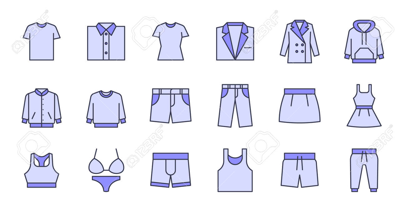Simple icon set contains such Icons as bathrobe, pajamas, socks, shoes, and more - 166300174