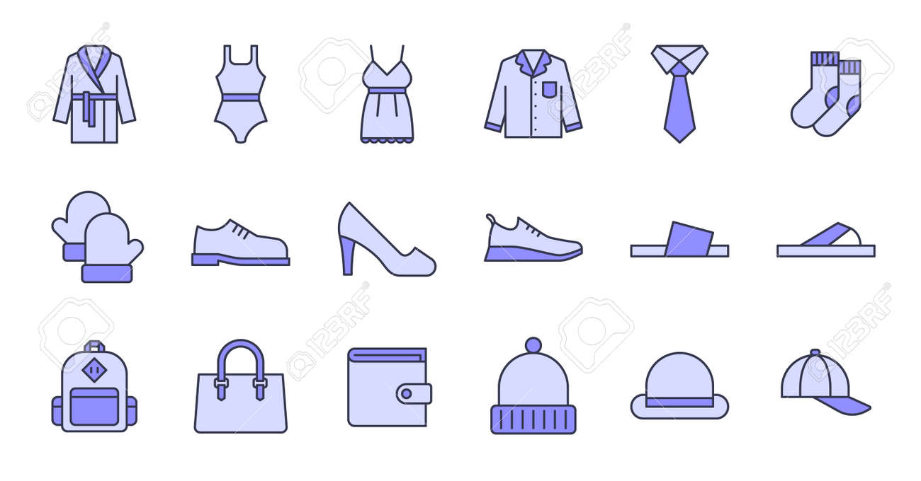 Simple icon set contains such Icons as bathrobe, pajamas, socks, shoes, and more - 166300175