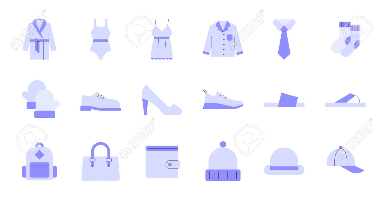 Simple icon set contains such Icons as bathrobe, pajamas, socks, shoes, and more - 166300179