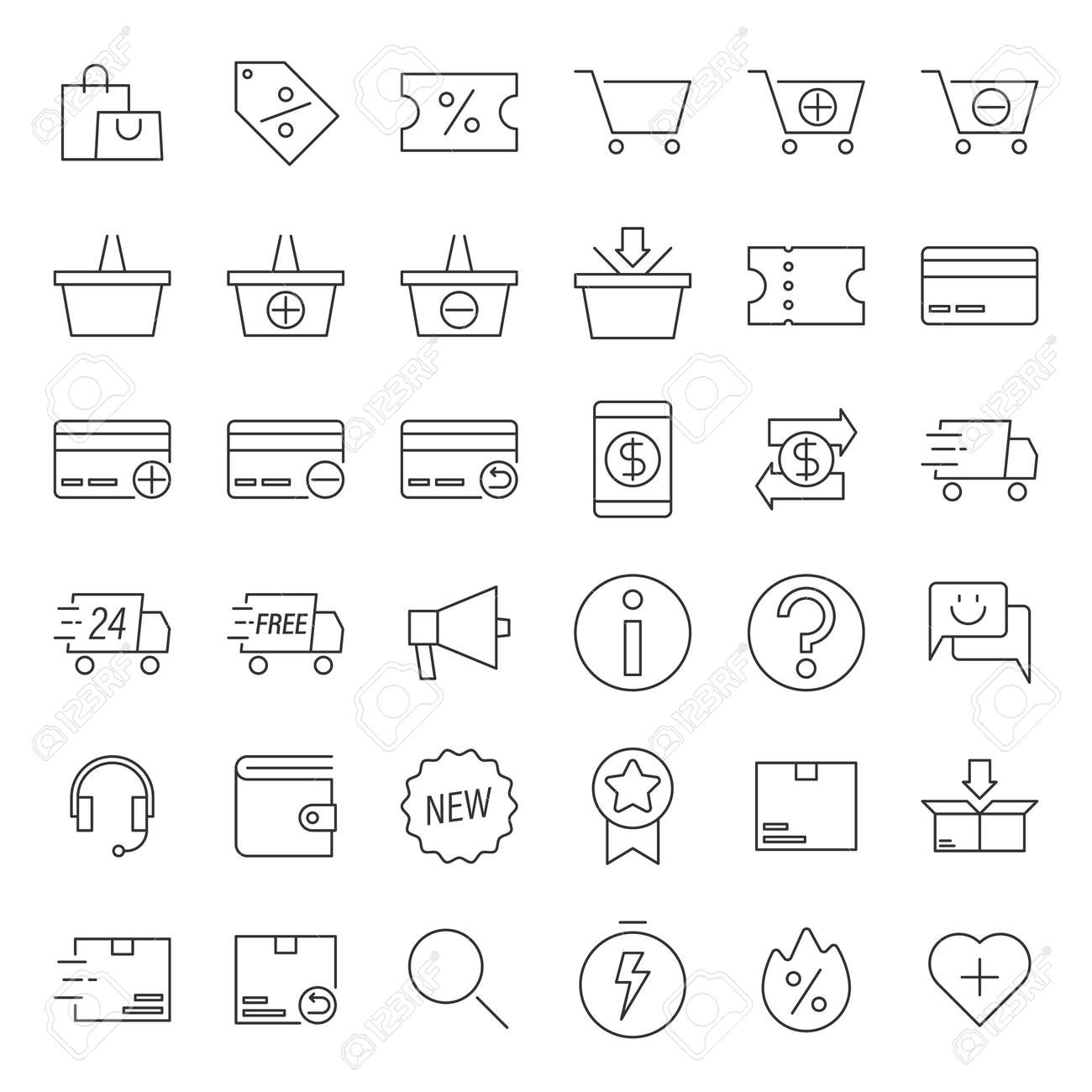 Simple icon set contains such Icons as shopping bag, shopping cart, delivery and more - 164557994