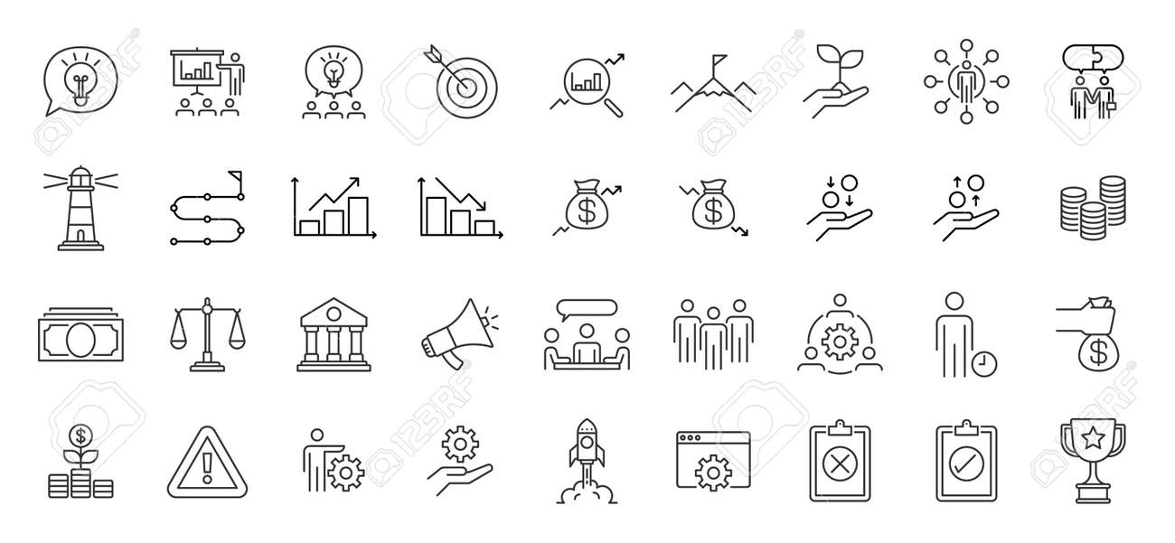 Business Presentation Icon set. Contains such Icons as data analysis, meeting, money, trophy, and more. - 165799149
