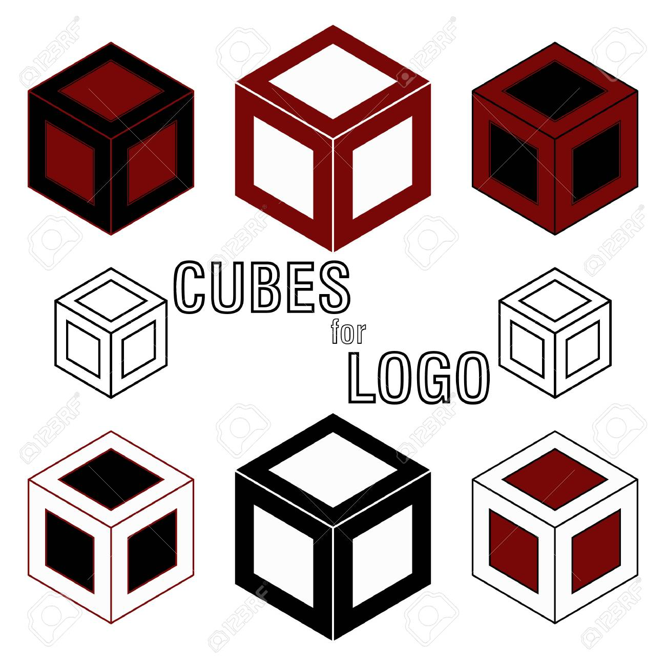 3d cube isometric logo concept abstract square logo template