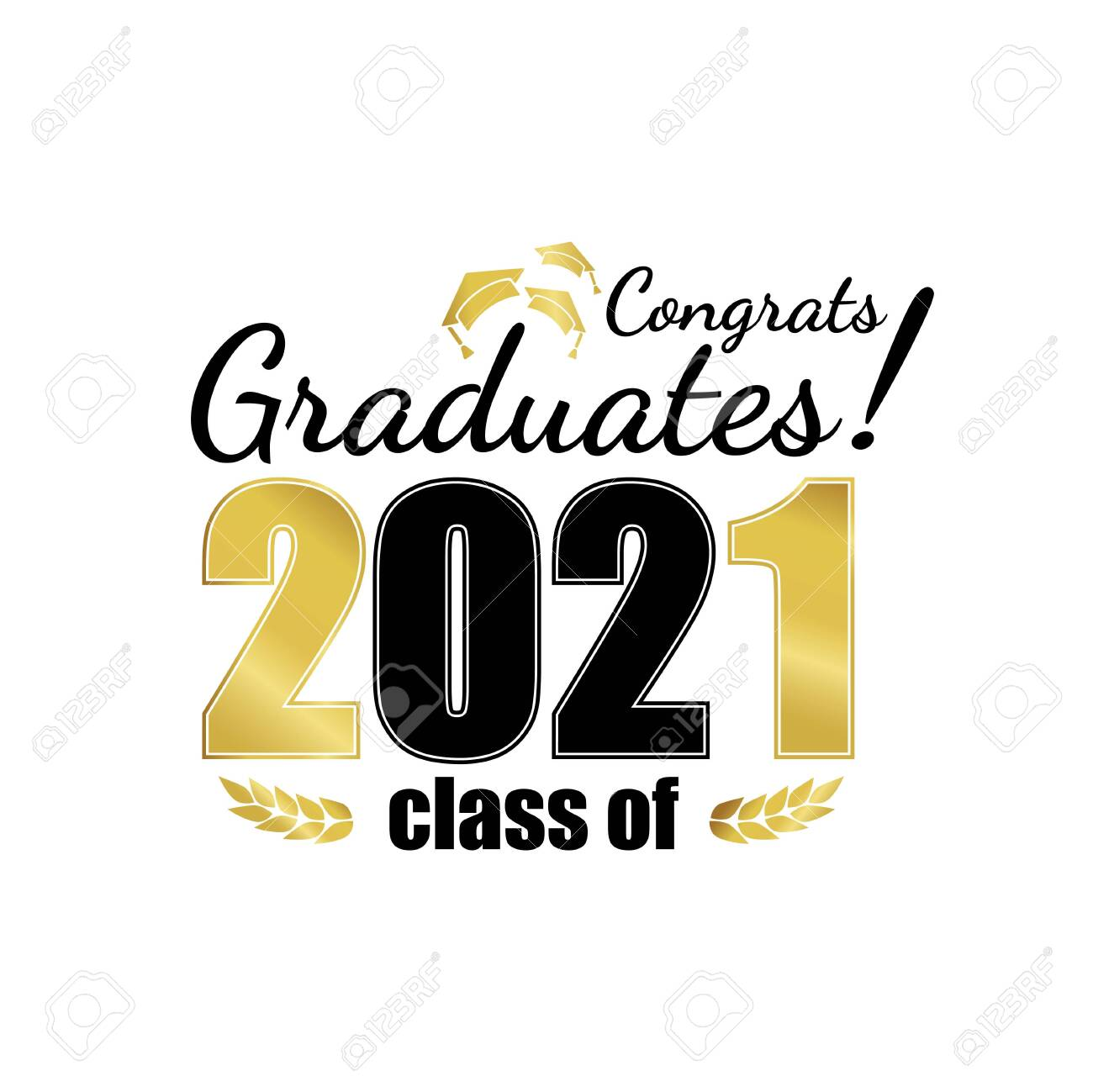 Class Of 2021. Black Gold Number With Education Academic Cap.. Royalty Free  Cliparts, Vectors, And Stock Illustration. Image 145457576.