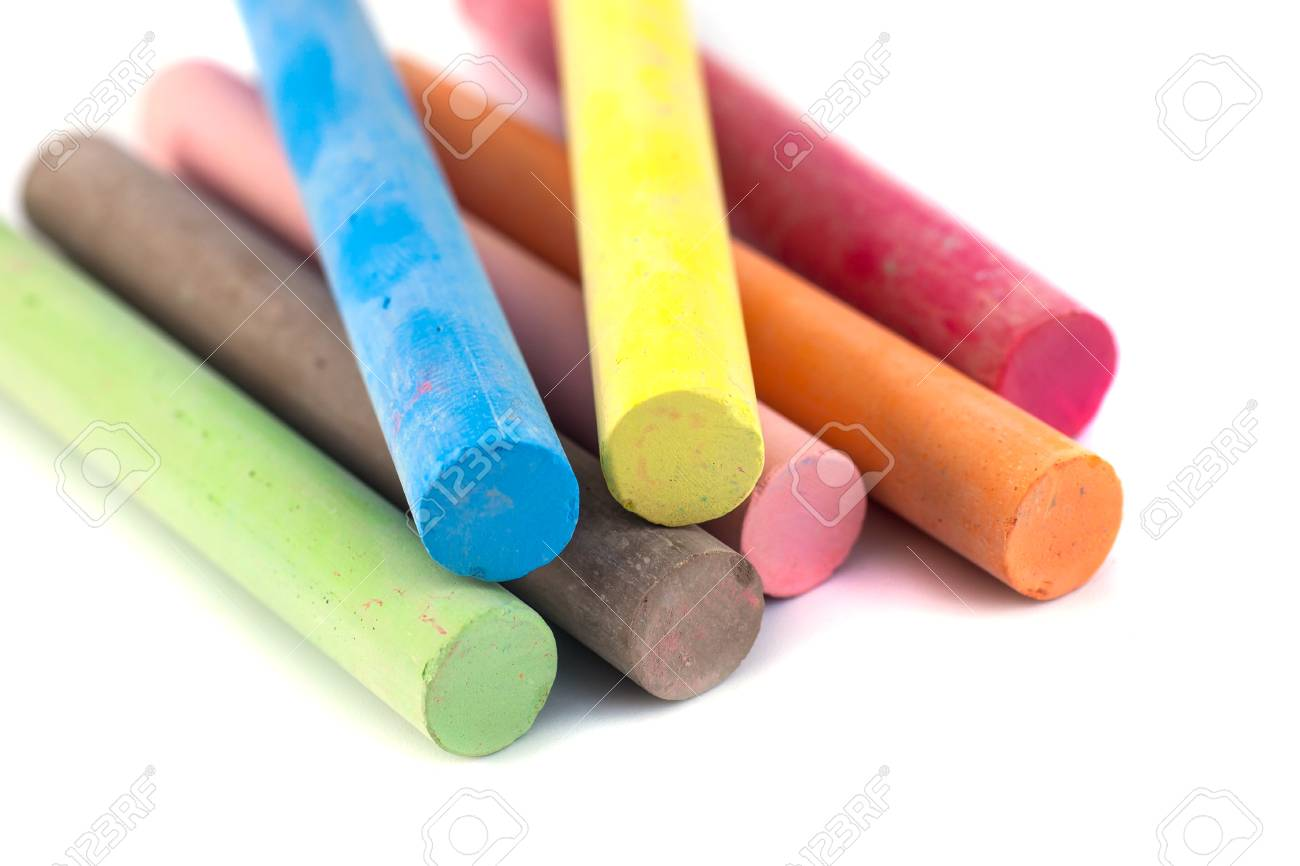 Colored chalks on white background with soft shadows. - 98906856