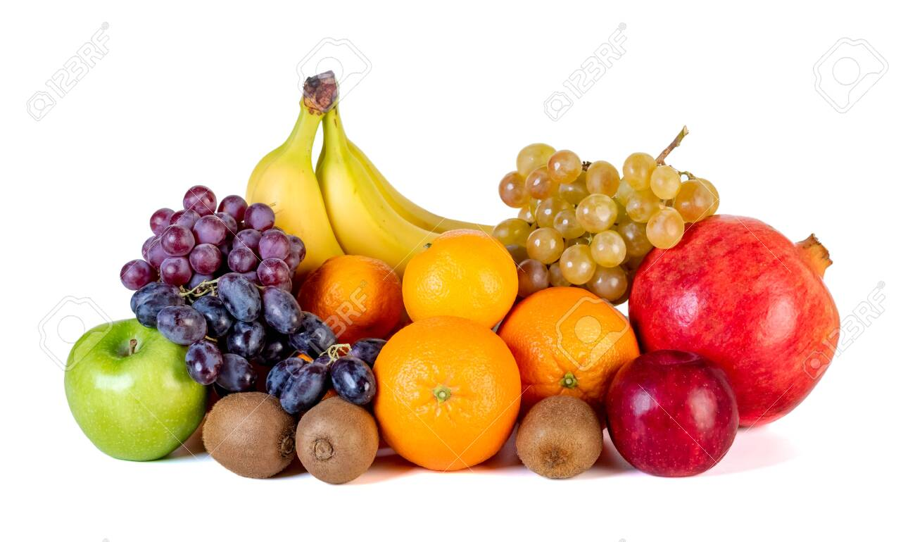 assortment or tropical fruits isolated on white background. Healthy food. - 137633946