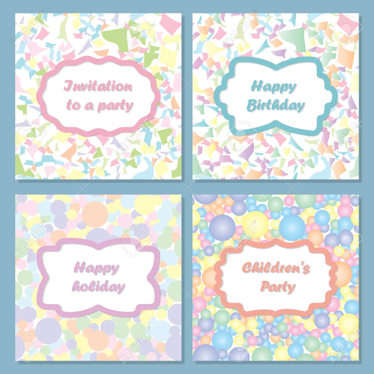 set of colorful invitations for your holiday you can use return