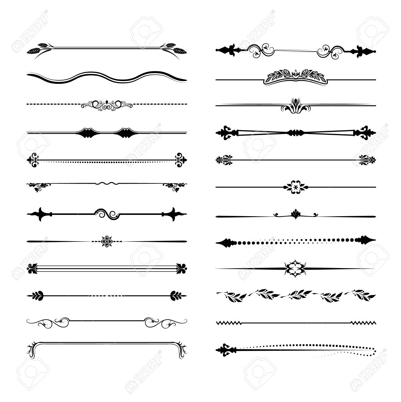 Collection of vector dividers. Can be used for design, letters, jewelry, gifts, notebooks. Vector illustration - 126453178