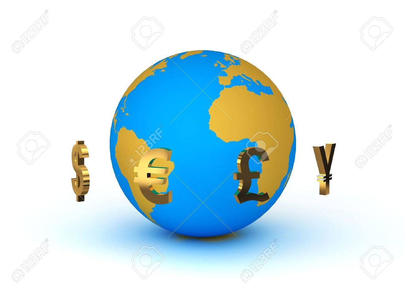 Currency around the planet earth Stock Photo - 9870049