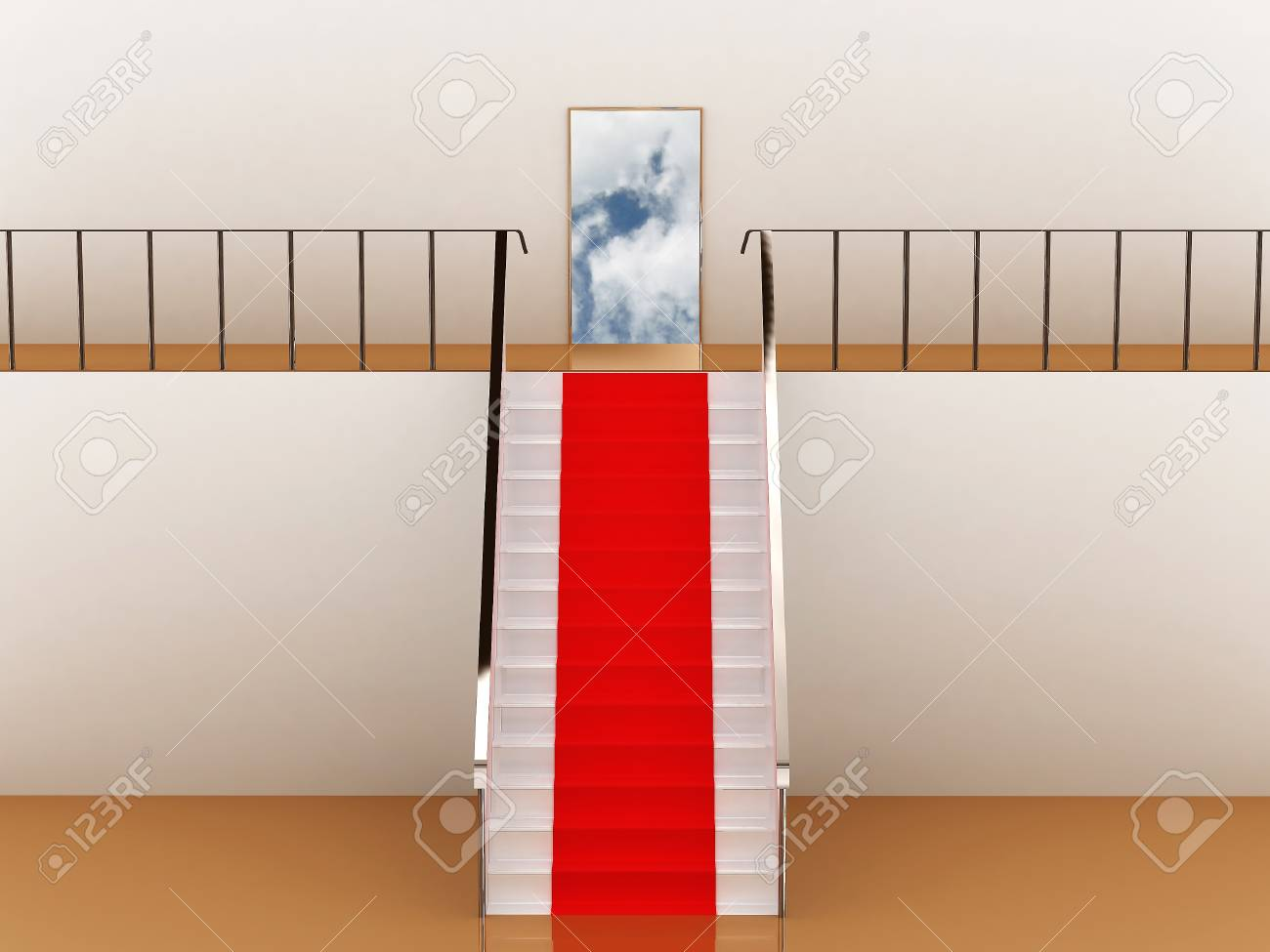 Stairway with red carpet to the sky Stock Photo - 9870264