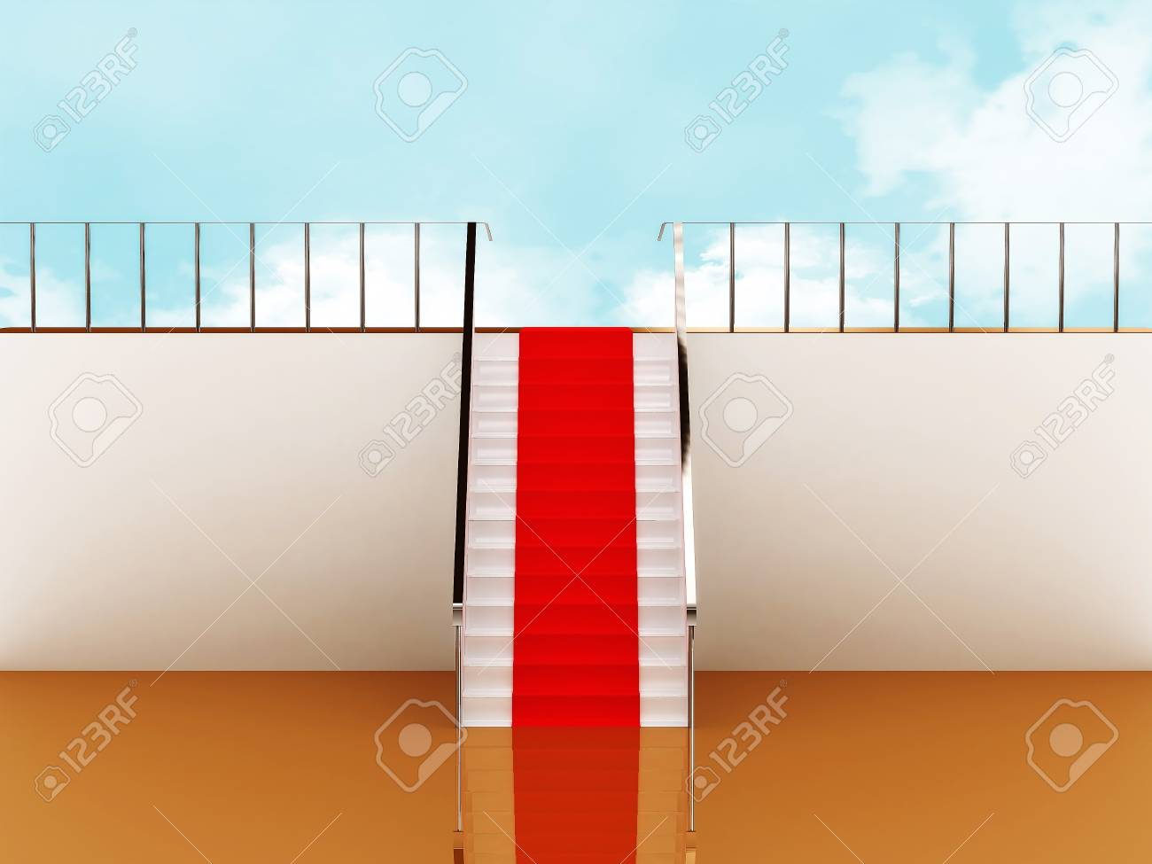 Stairway with red carpet to the sky Stock Photo - 9870291