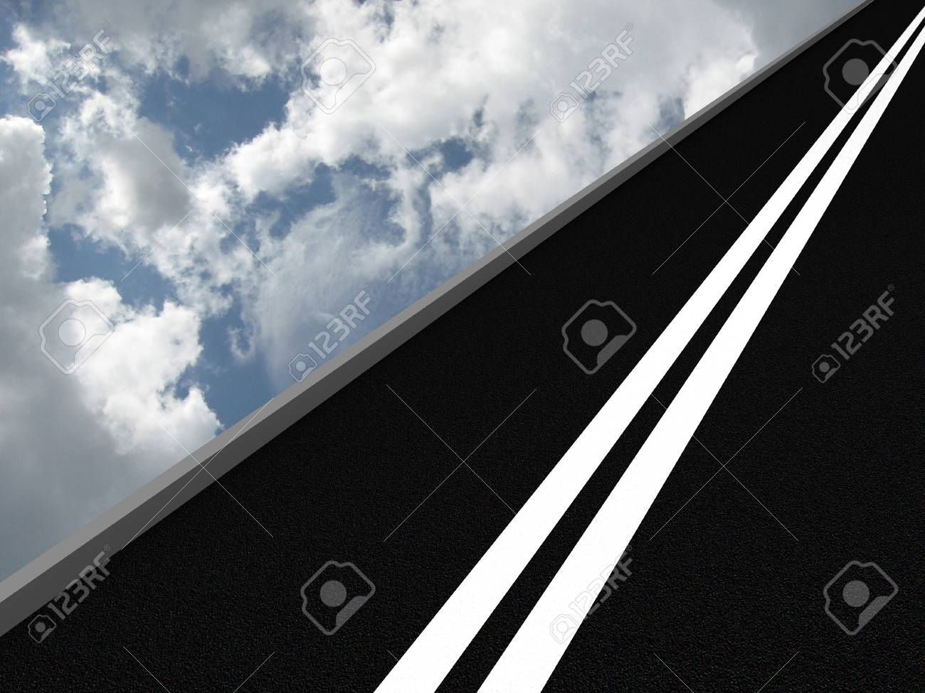 Road leading into the sky. 3D Stock Photo - 9870399