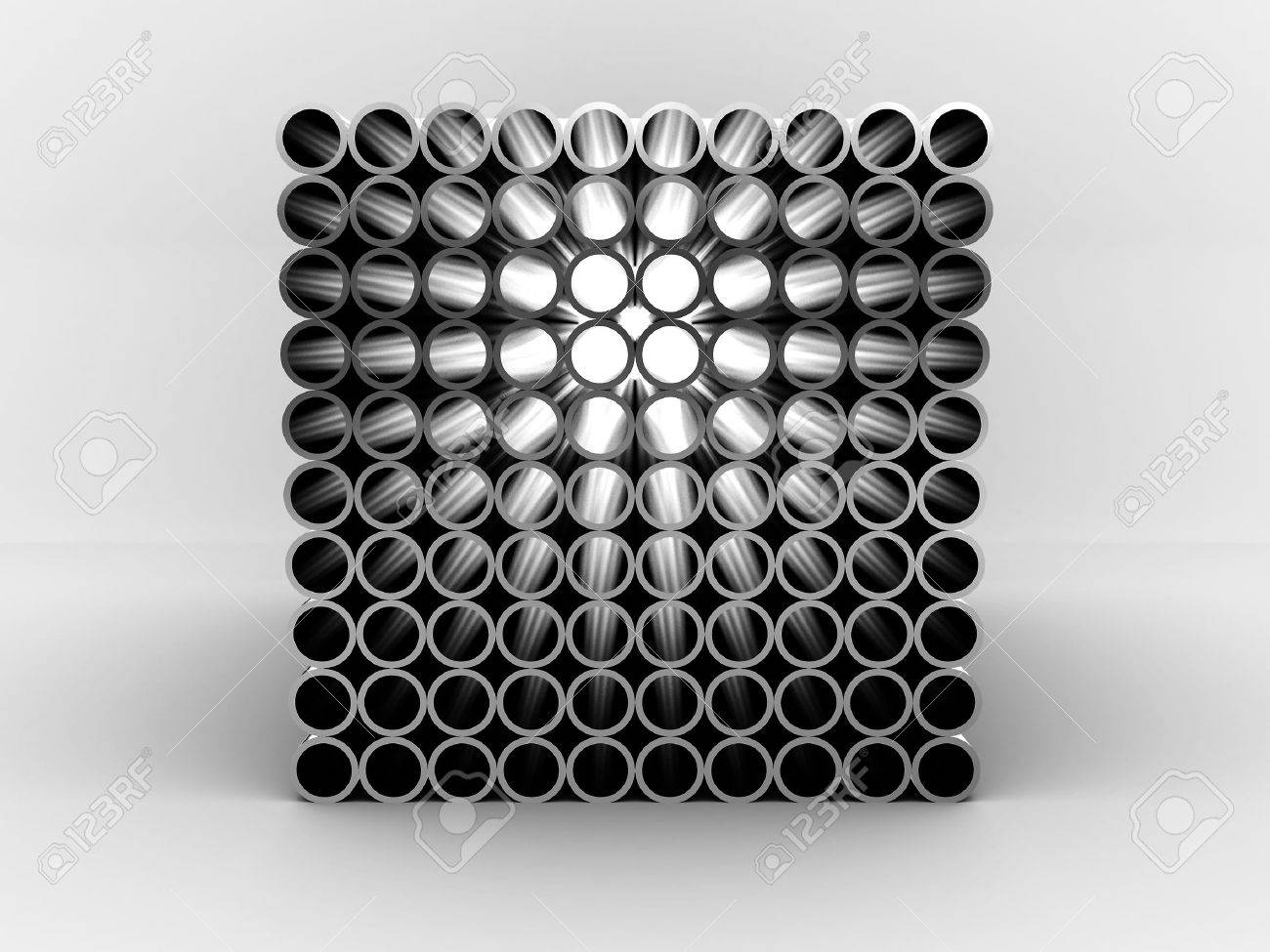 Steel pipes isolated on white background. 3D Stock Photo - 9870312