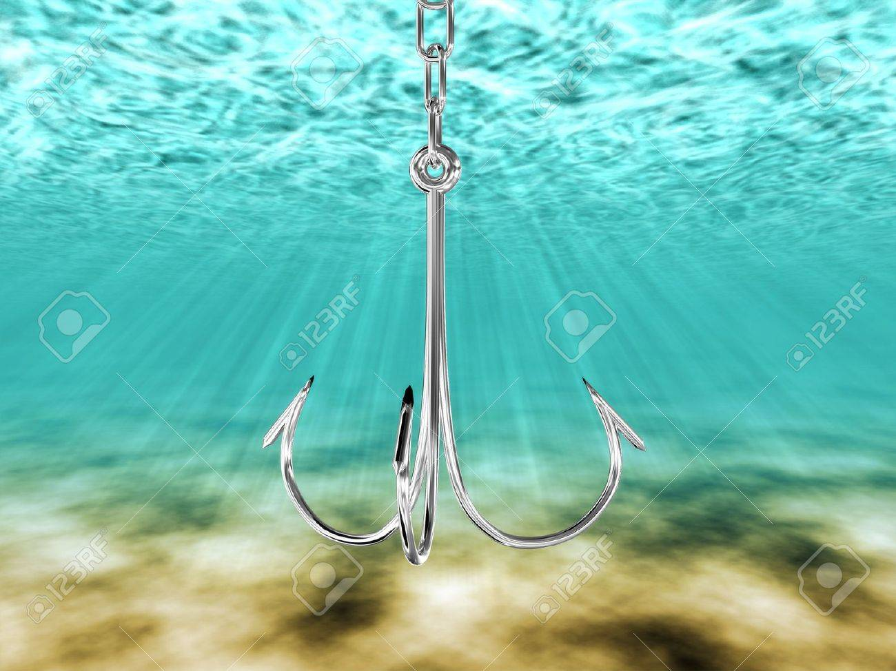 Hook to catch fish under water. 3D image Stock Photo - 10998613