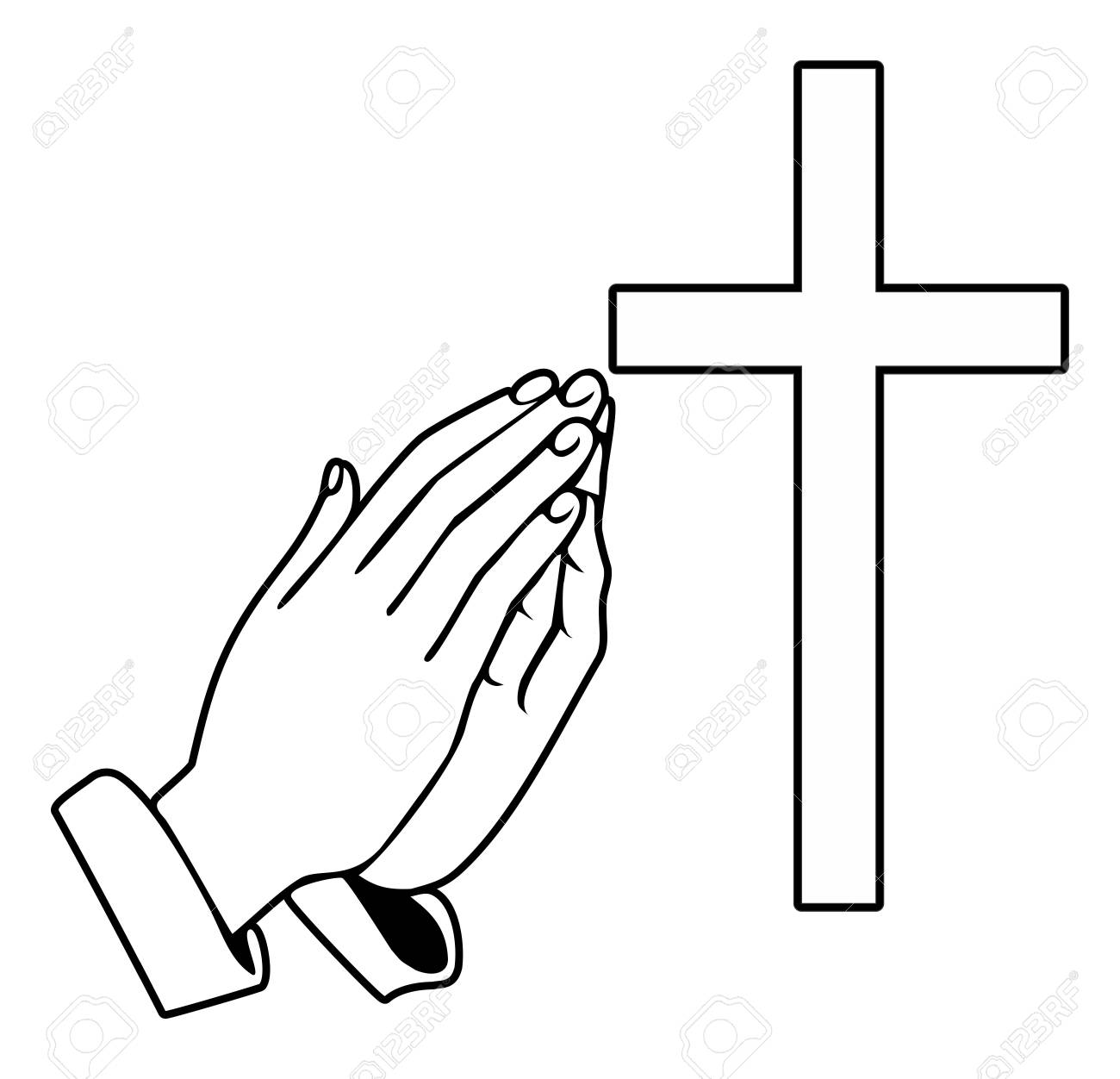 Praying Hands and orthodox cross - Vector Illustration - 87575915