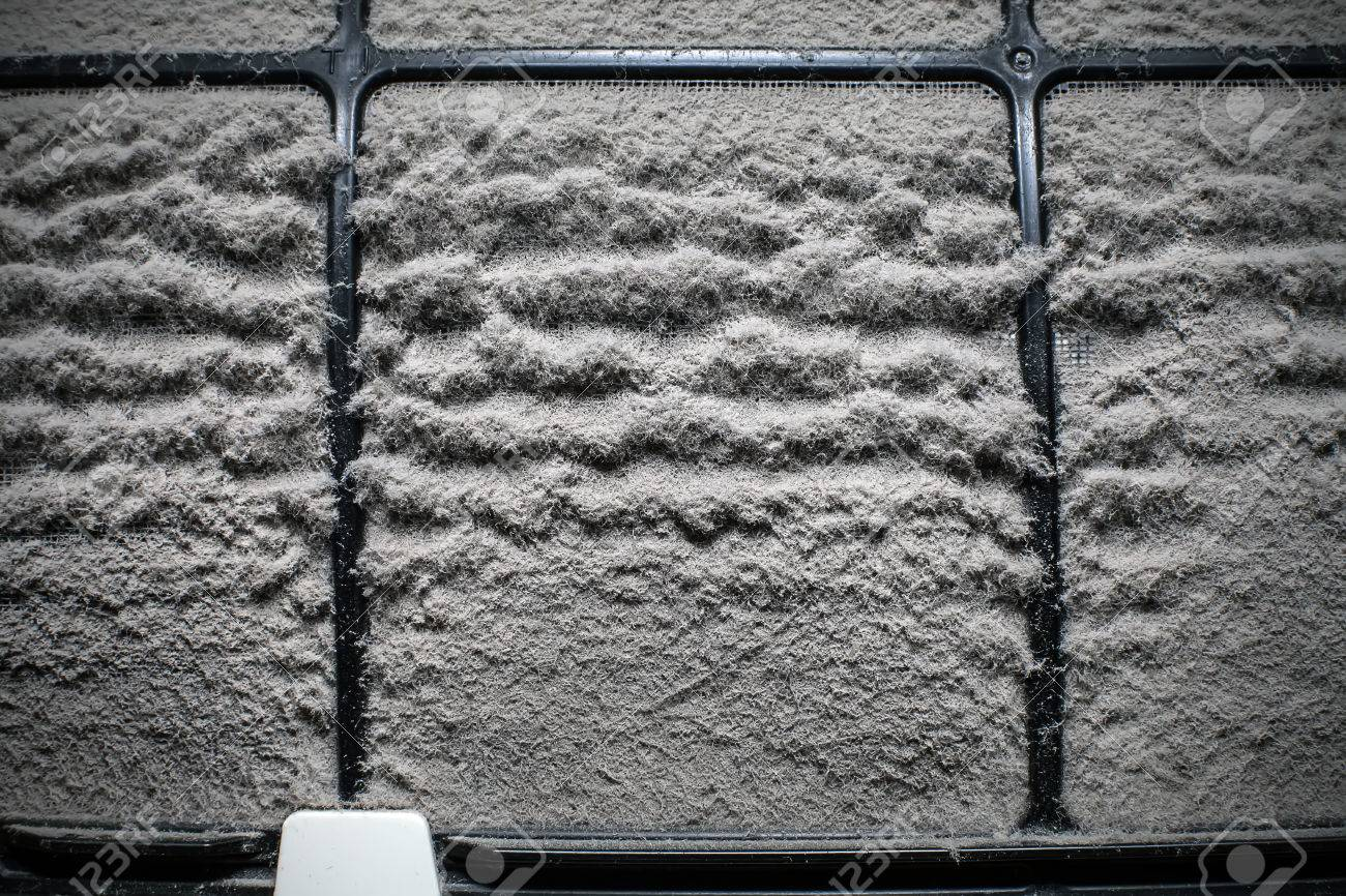 close up home air conditioner filter with many dust - 43762172