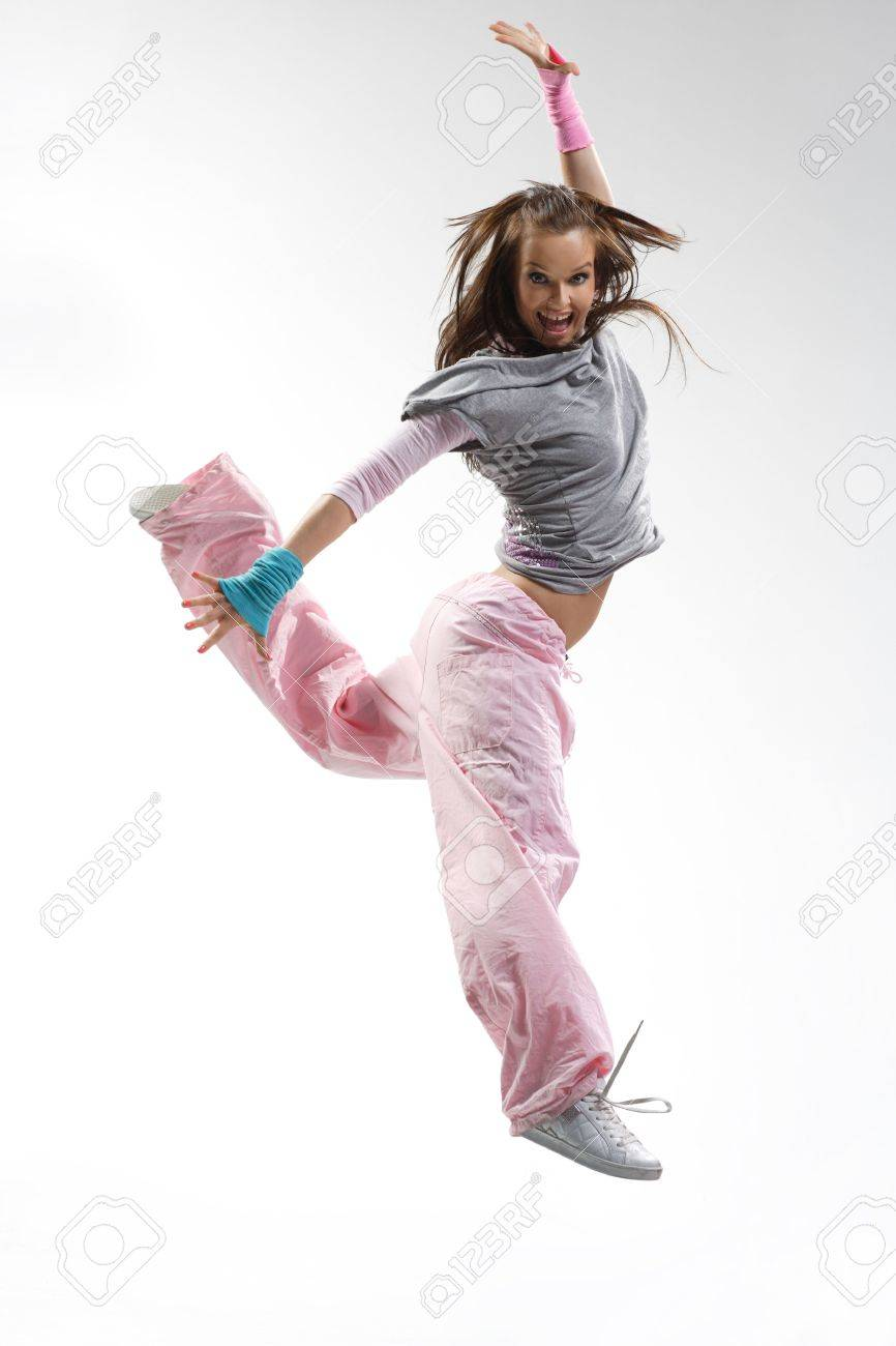 cool looking and stylish hip-hop dancer posing on white background - 3400036