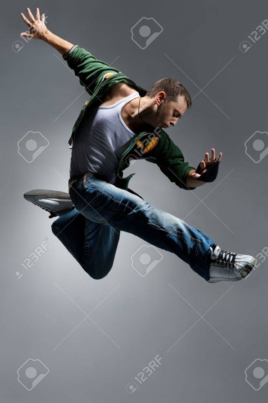cool looking dancer makes a difficult jump - 3683125