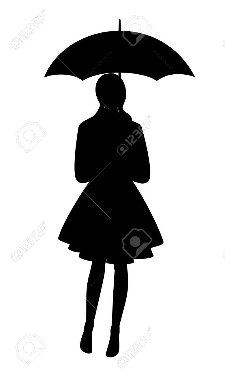 Silhouette Of A Woman With Umbrella Isolated Vector Illustration