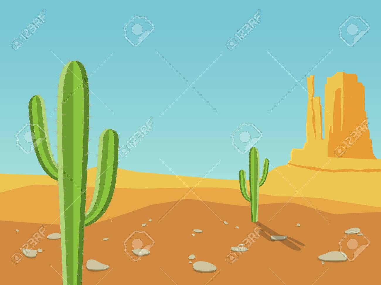 Cactus Porn Dibujo desert landscape with mountains and cactus. cartoon vector illustration.