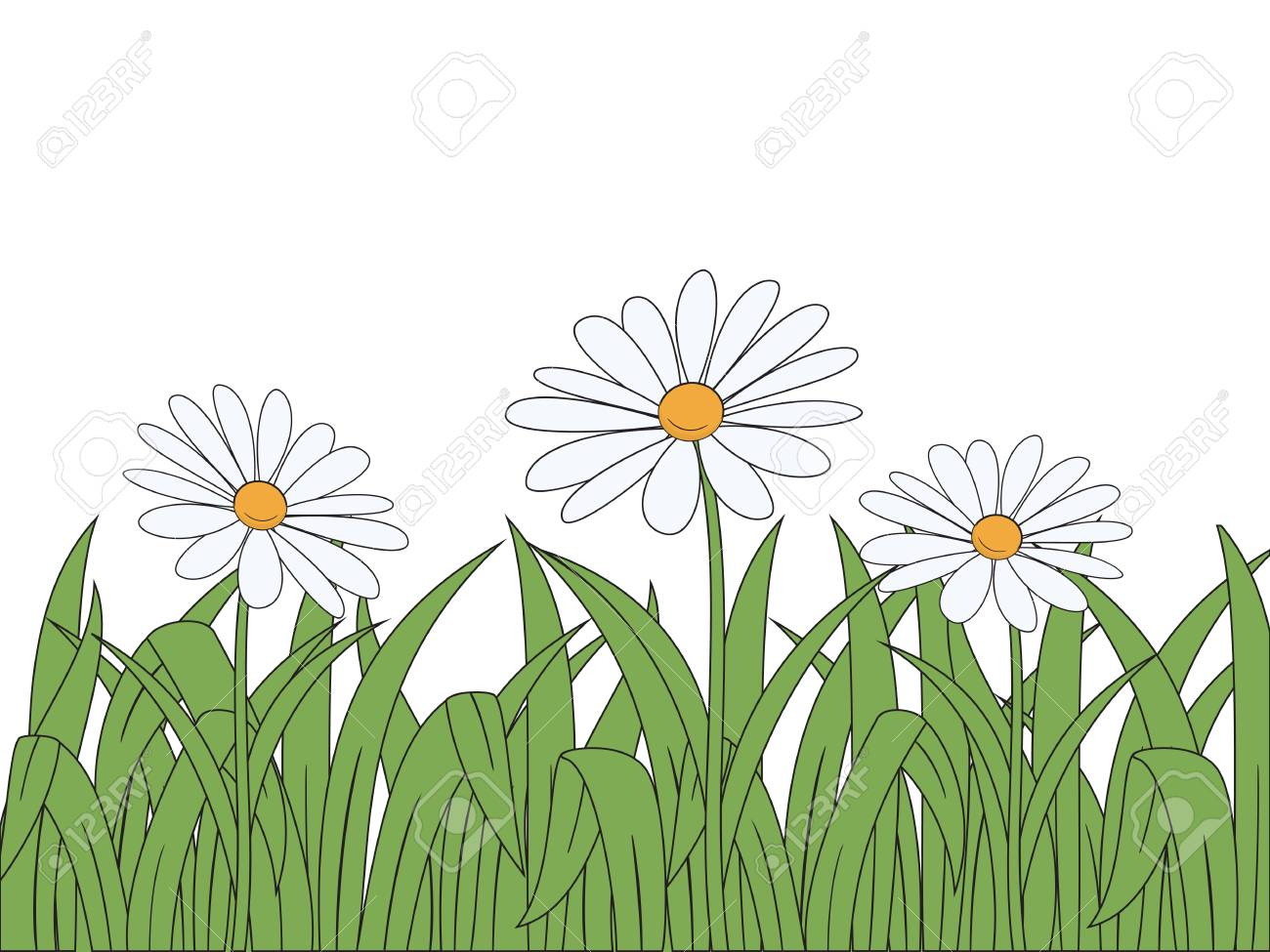 Cartoon flowers and grass on white background  Vector illustration