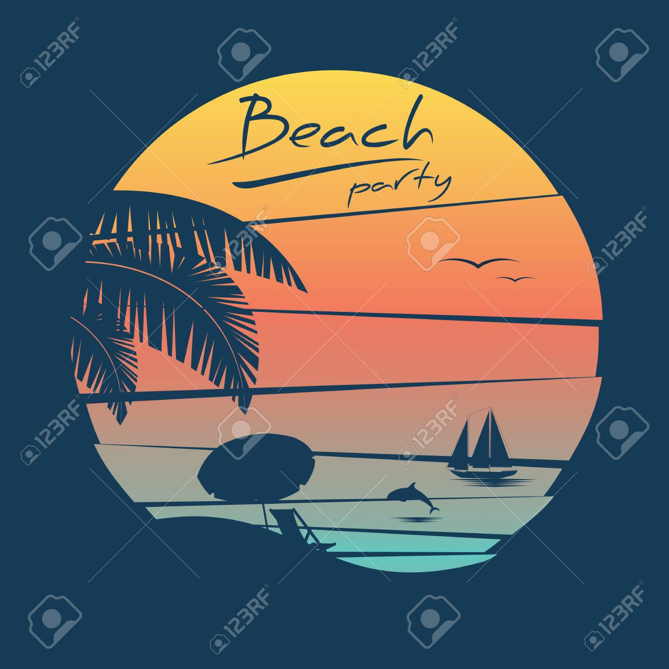 Beach Party Poster With Tropical Island And Palm Trees On Sunset