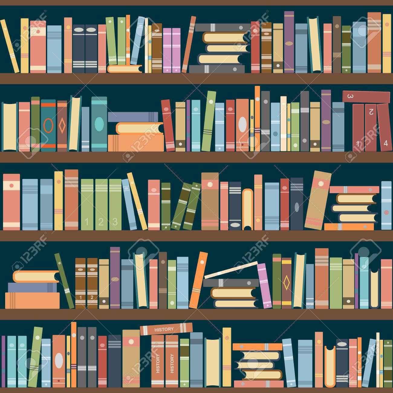 Bookshelves Full Of Books Both In The Library Vector Illustration