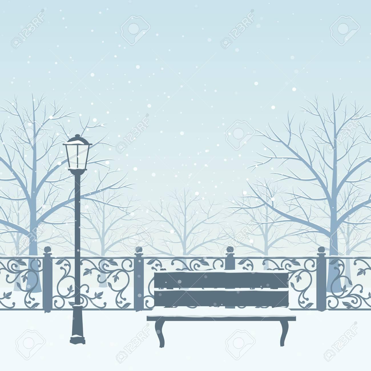 Schnee Treibt Im Winterpark. Schnee Bedeckte Bäume, Bank Und ...