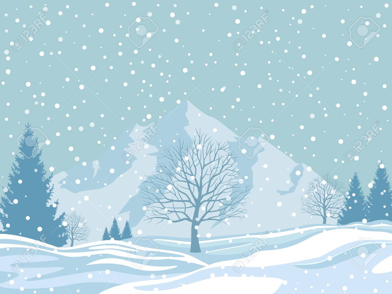Christmas Illustration.Winter Landscape On Snowy Background Christmas Vector Illustration
