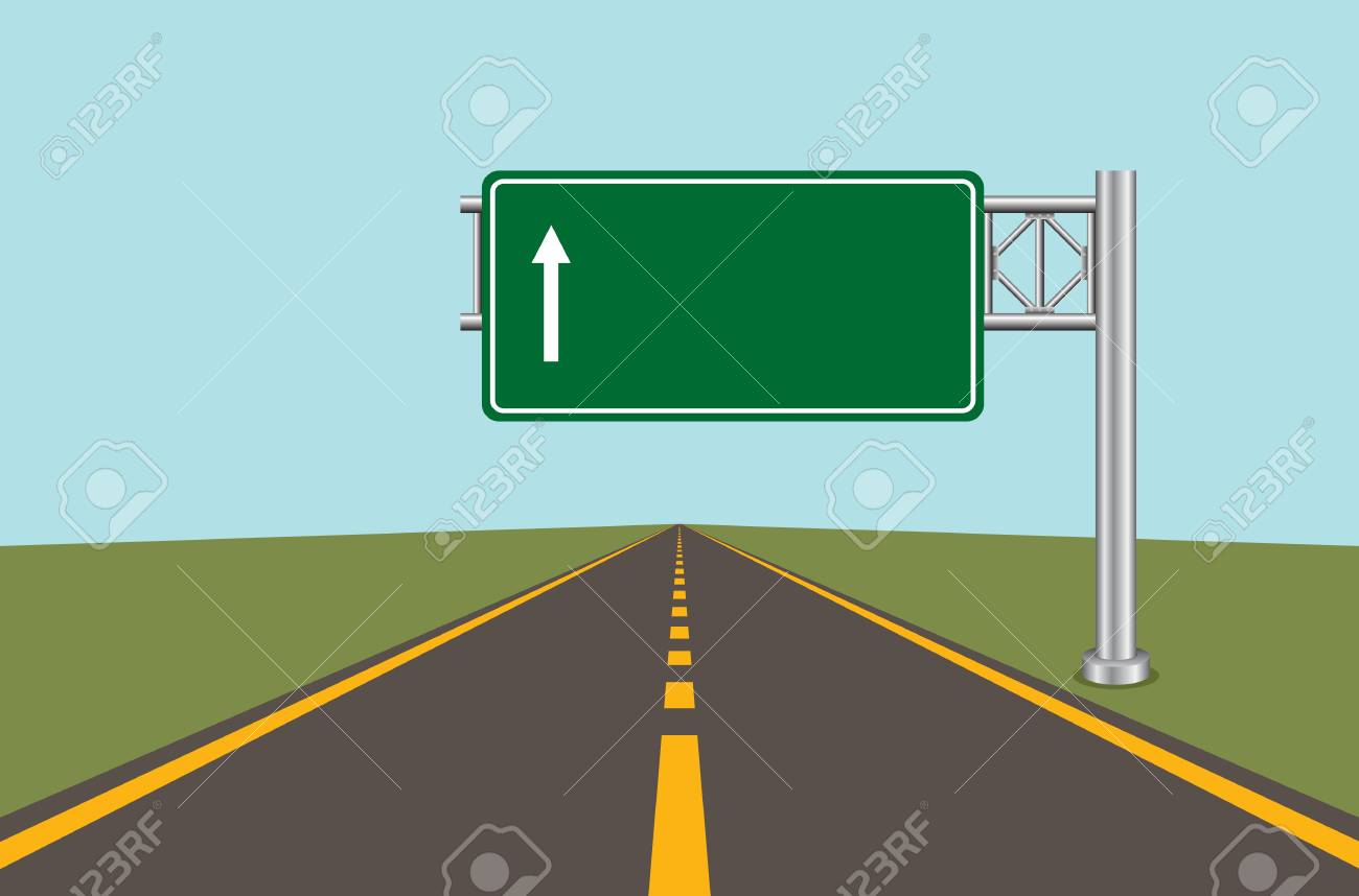 Road highway sign. Green board with arrow and road with markings. Vector illustration. - 89119890