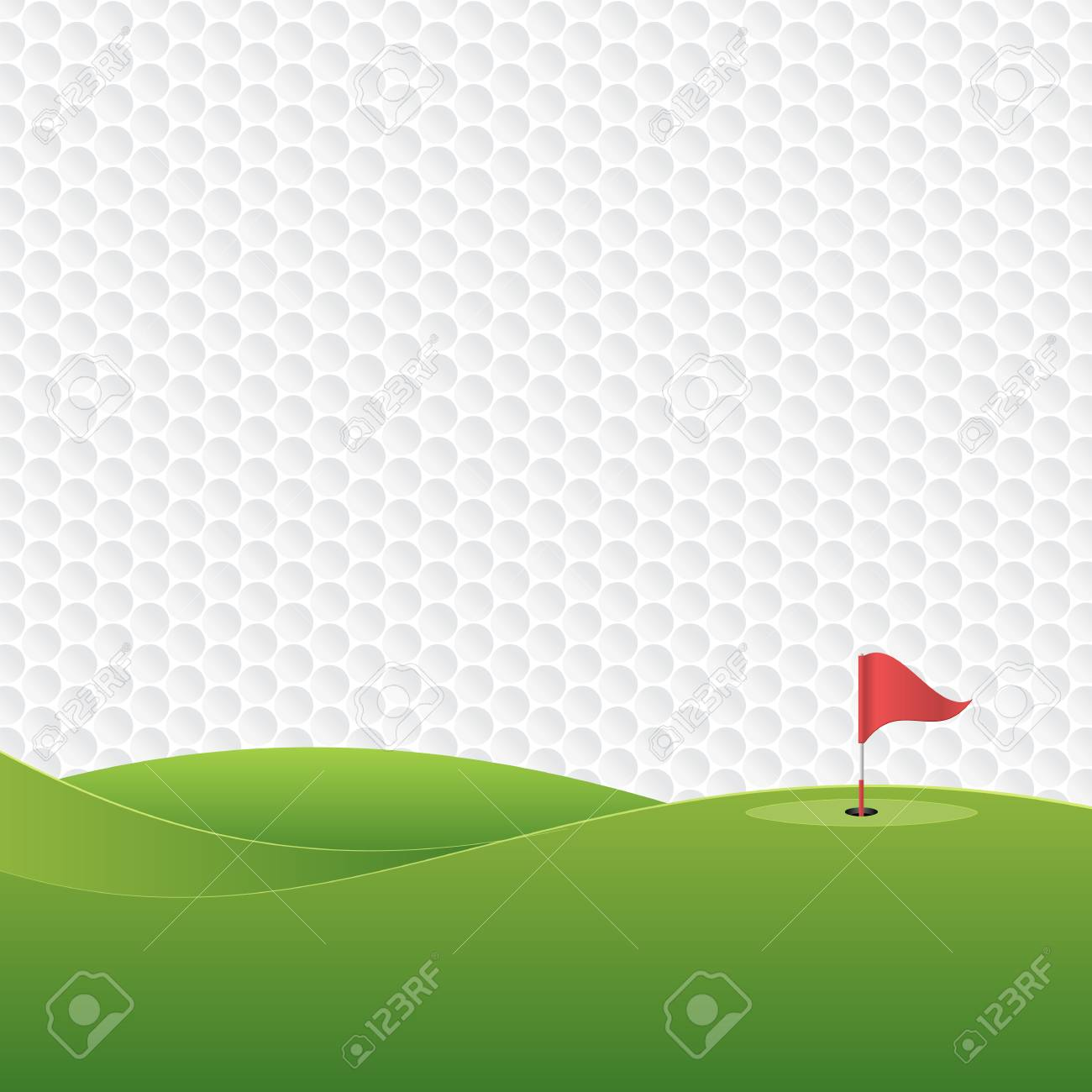 Golf background. Golf course with a hole and a flag. Vector illustration. - 90525291