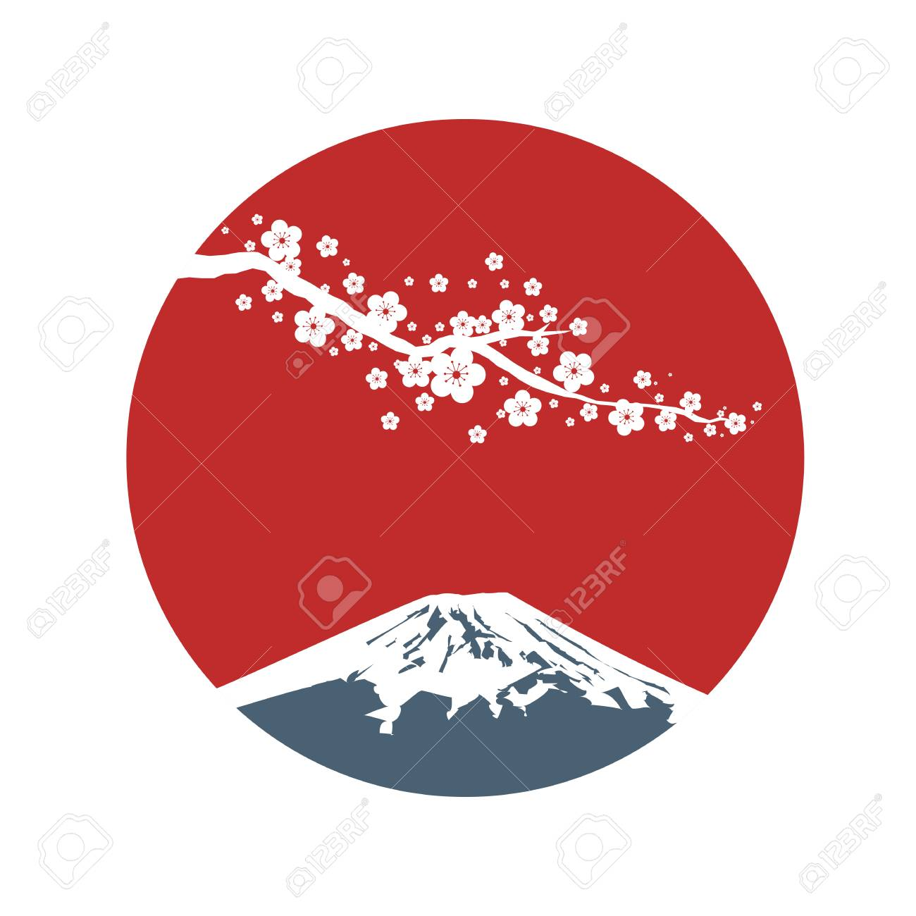 Cherry blossom branch with red sun in Asian style. Sakura blossom and sunrise. Japanese symbols mount Fuji. Vector illustration. - 96066919