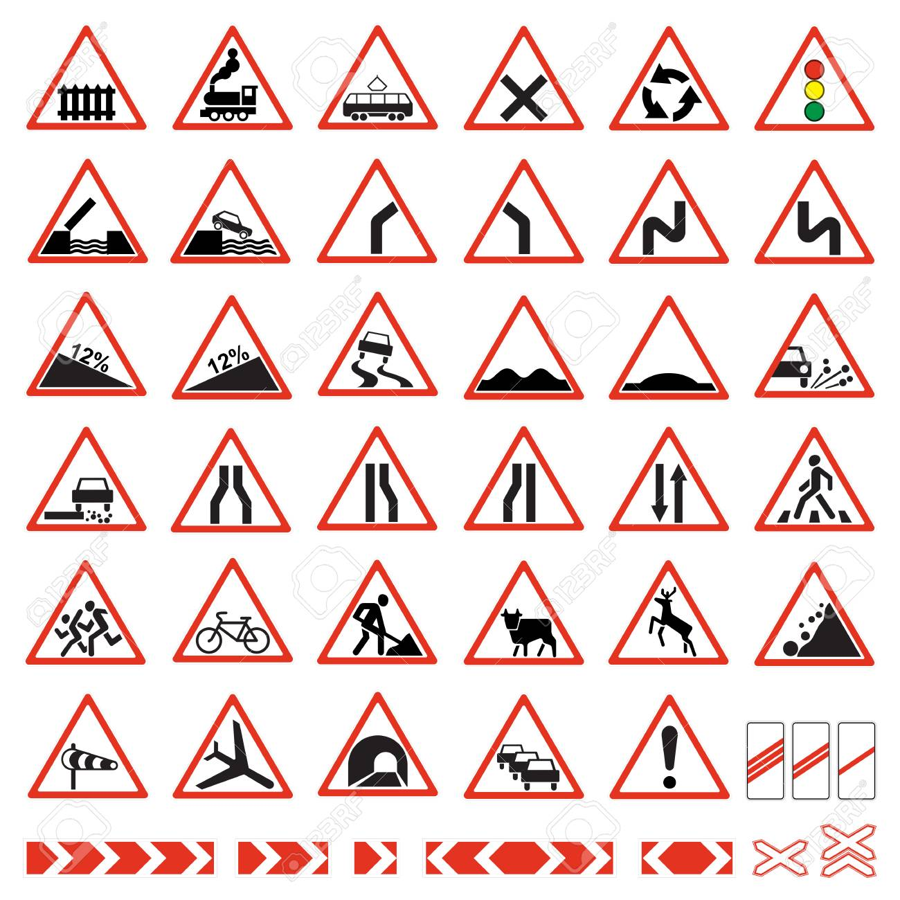 Road signs set. Warning traffic signs collection. - 117029649