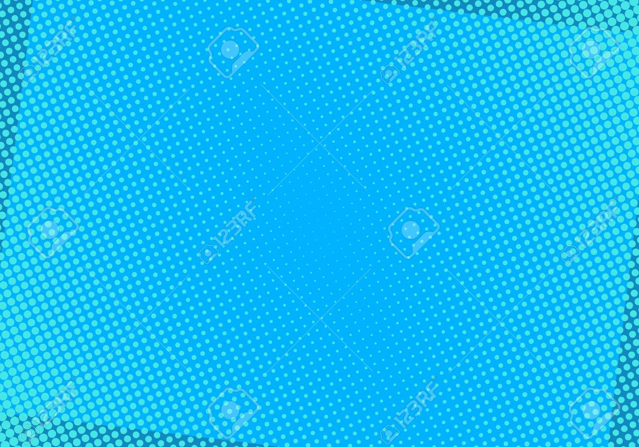 Blue comic background with halftone dots. Pop art vector illustration. - 124238678