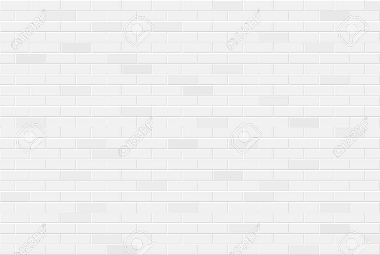 White brick wall texture seamless geometric pattern of bricks - 122826796