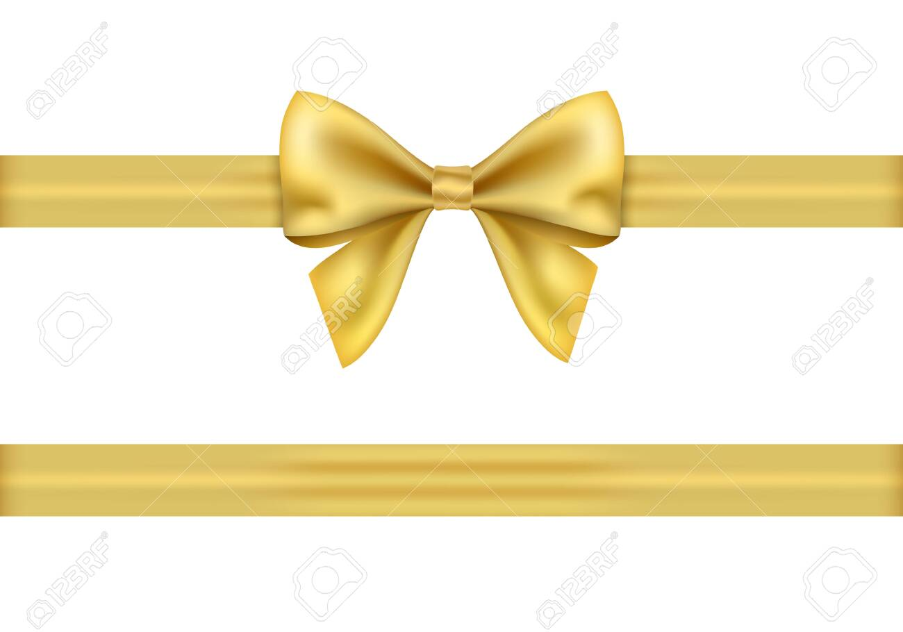 Golden gift ribbon and bow on white background. - 122242497