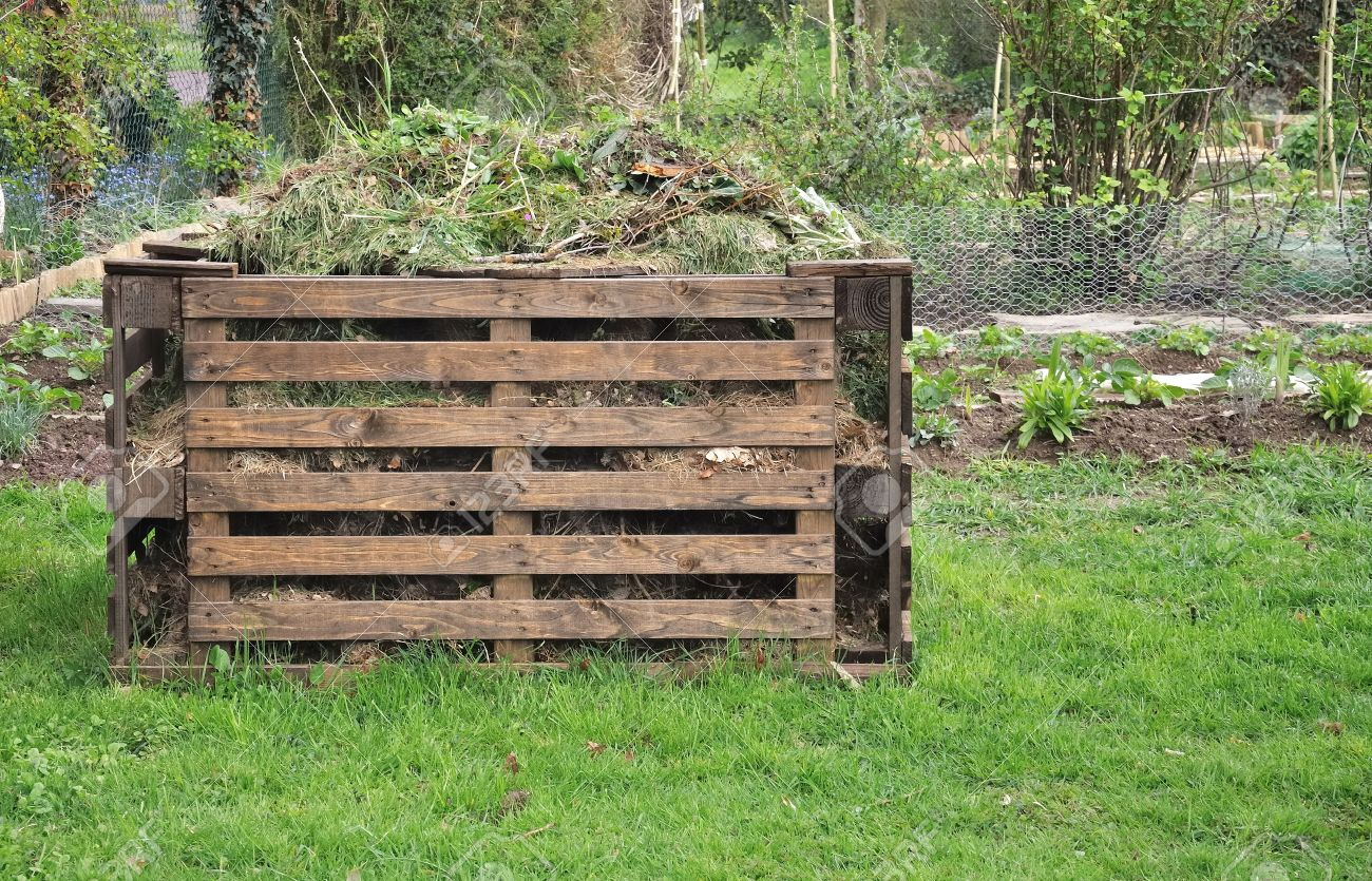 Wooden Composter For Organic Waste In A Garden Stock Photo